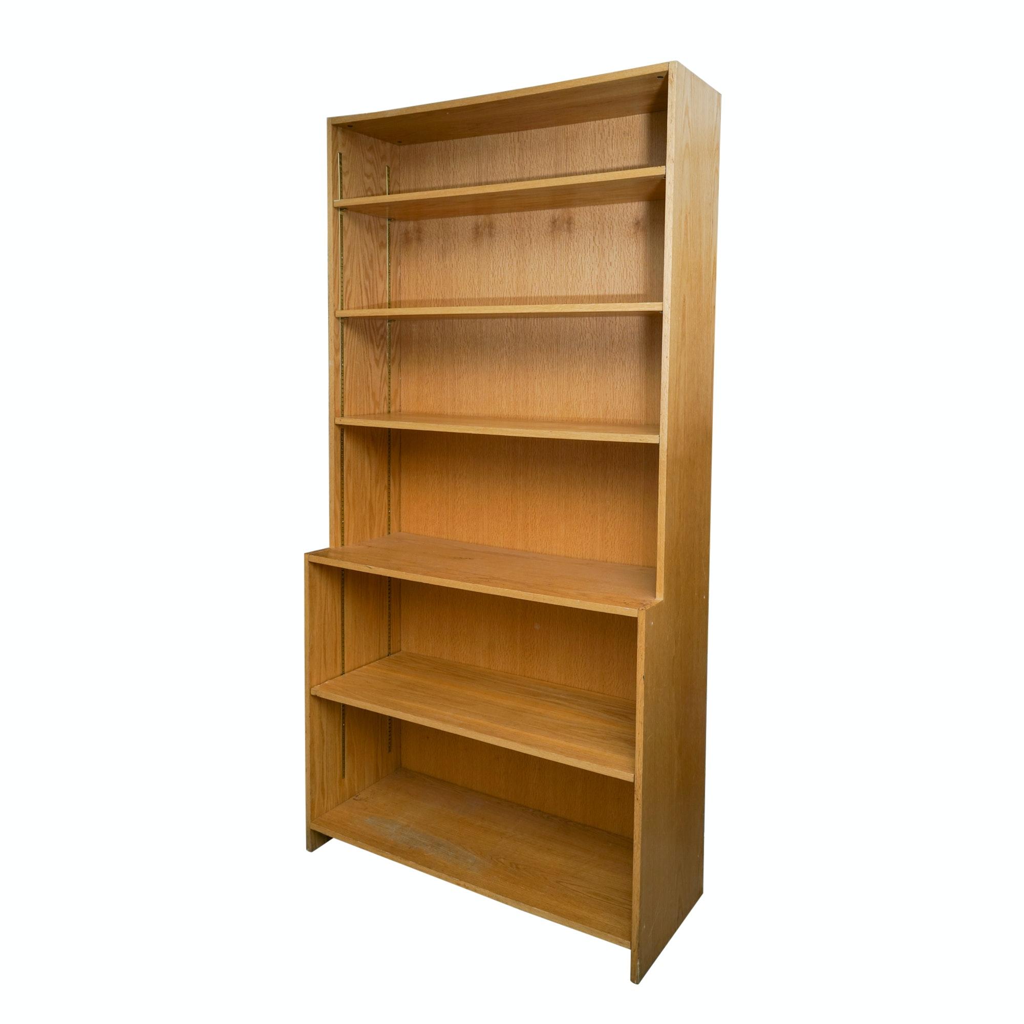 Oak Laminate Five Shelf Bookcase Ebth