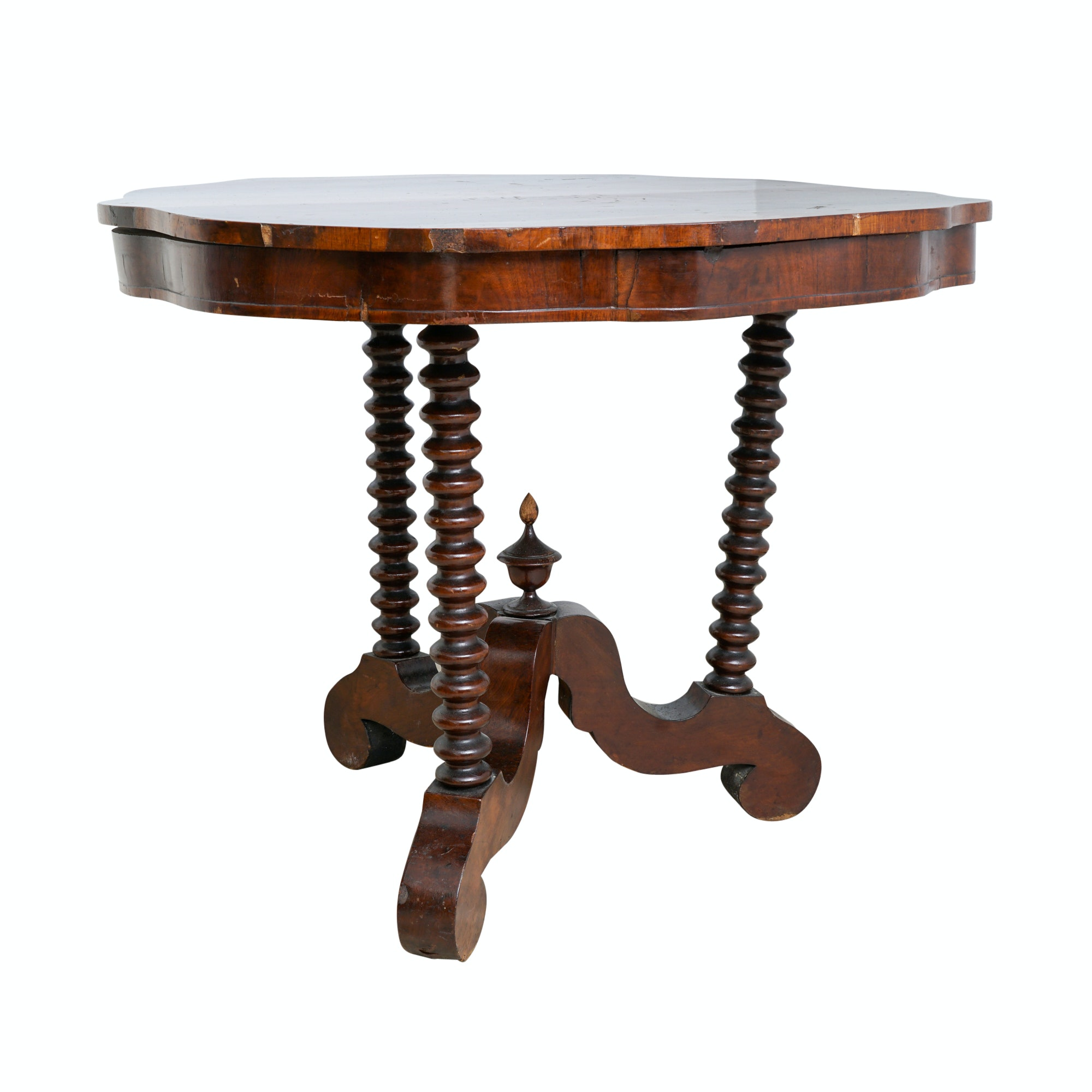 Antique Empire Mahogany Veneered Accent Table