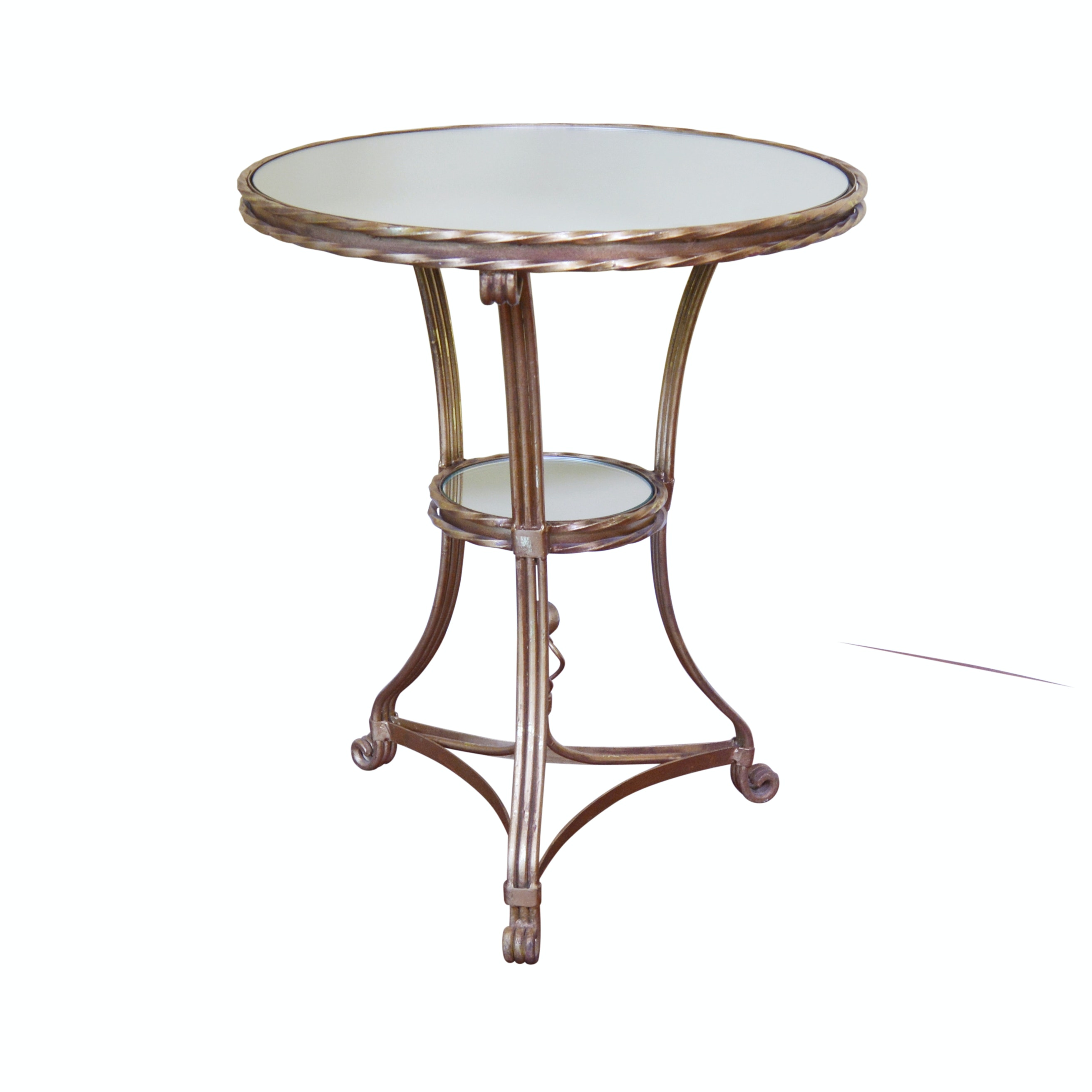 Mirrored Round Bronze Tone Metal Accent Table