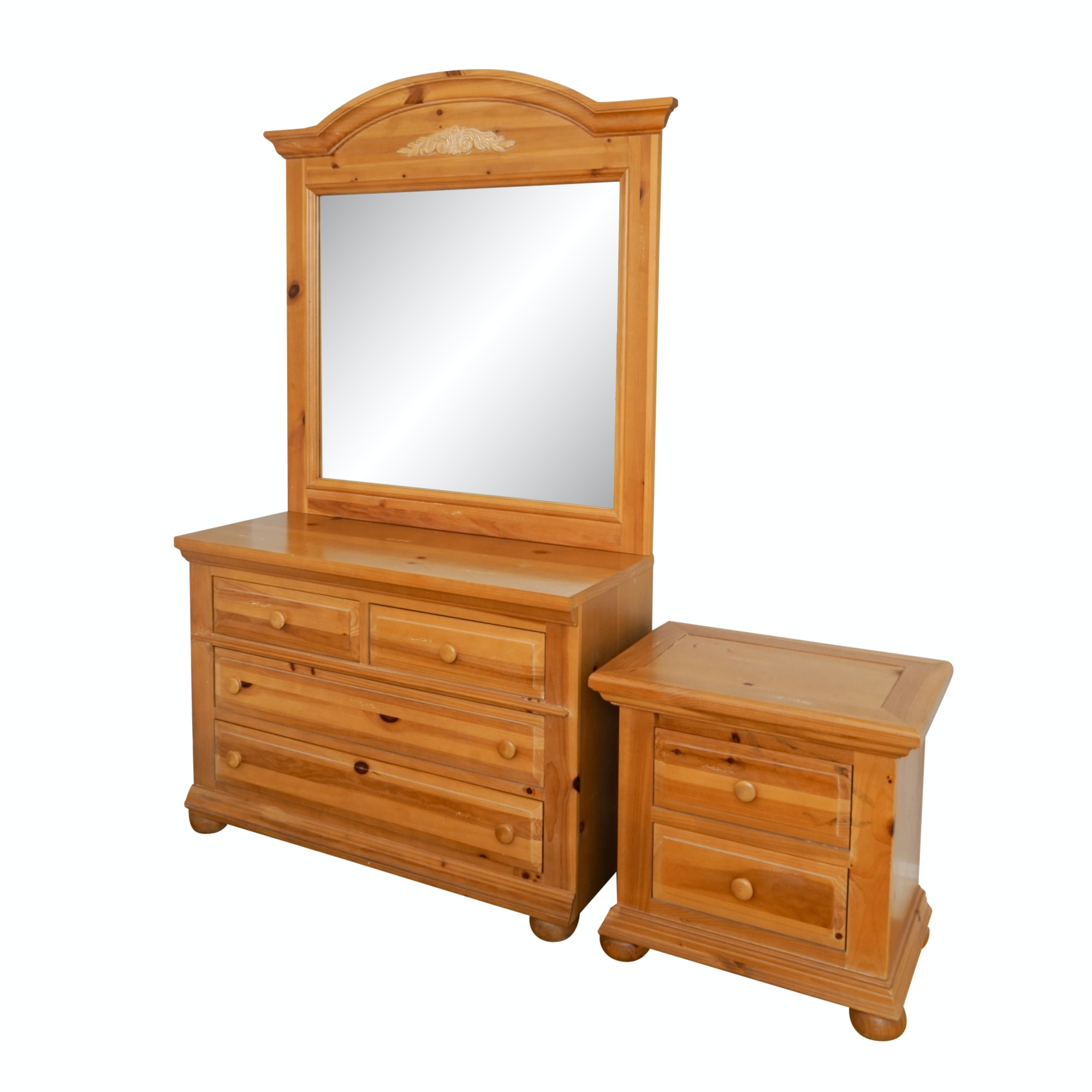 Pine Dresser and Mirror with Nightstand by Broyhill