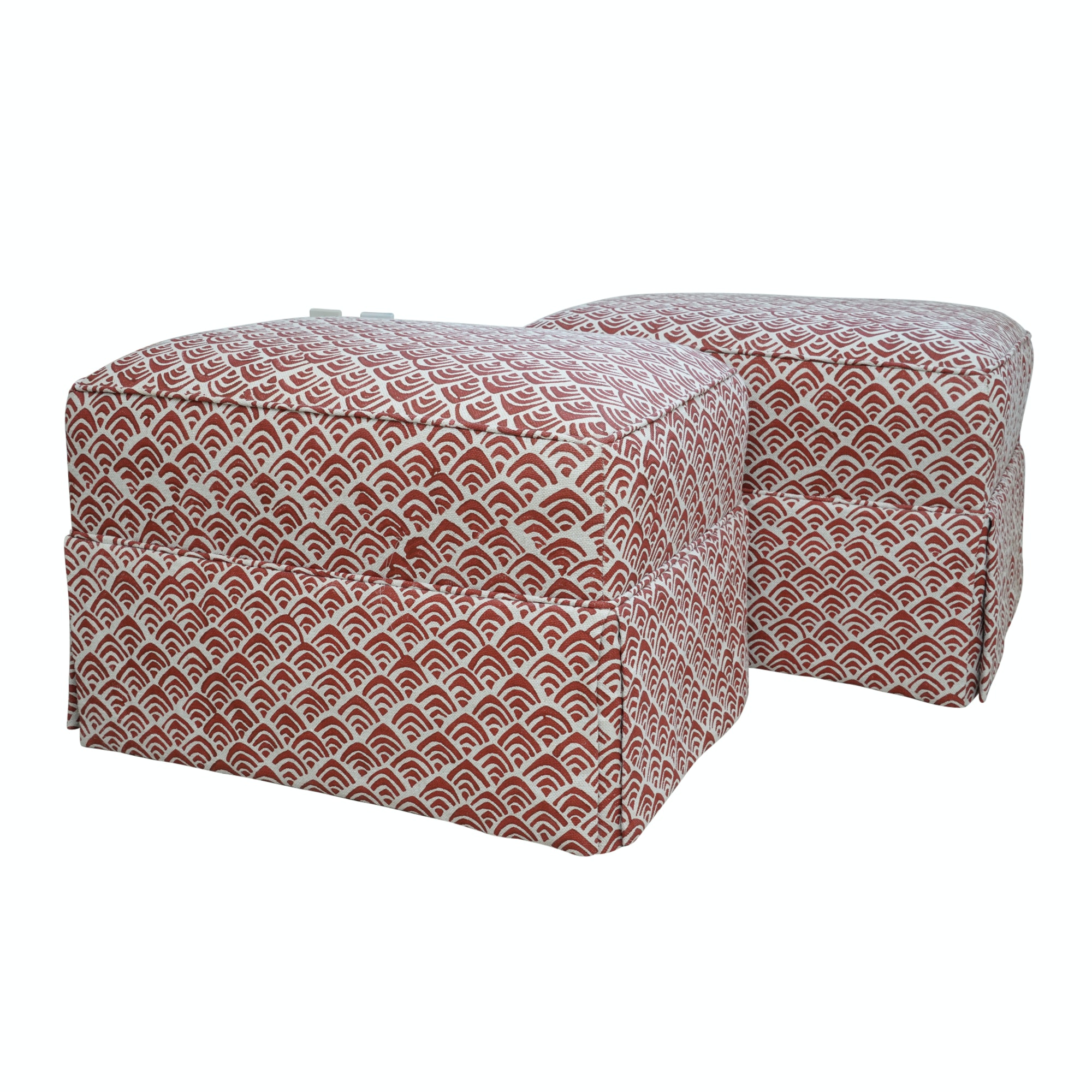 Red and White Upholstered Ottoman Pair