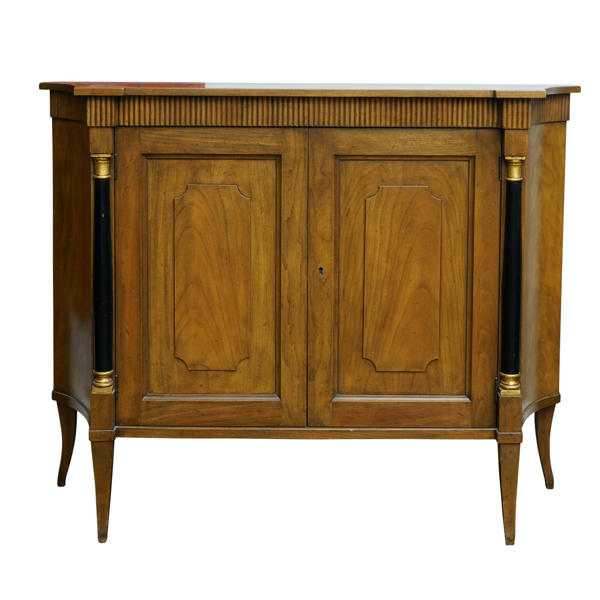 Vintage Neoclassical Style Walnut Side Cabinet by Baker Furniture