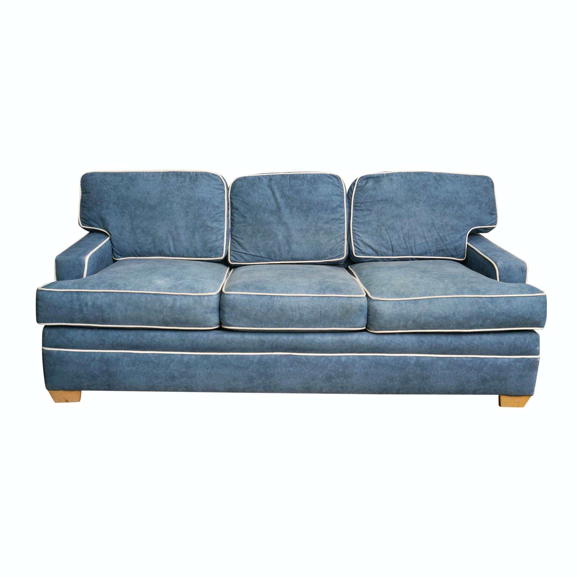 Ethan Allen Blue Upholstered Sleeper Sofa