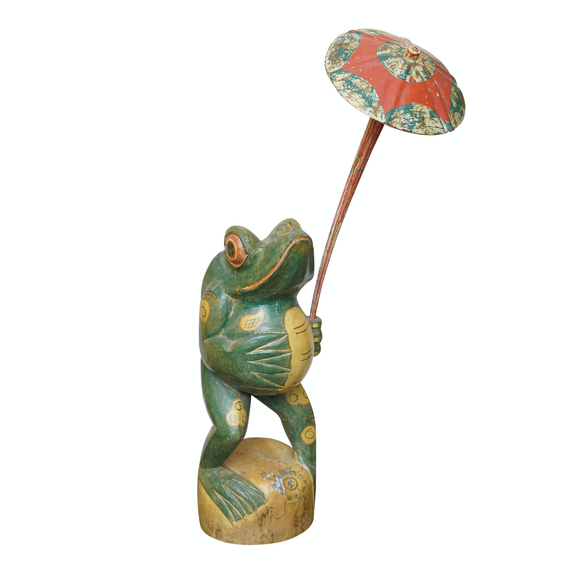Hand-Painted Frog with Umbrella Carved Wood Statuette