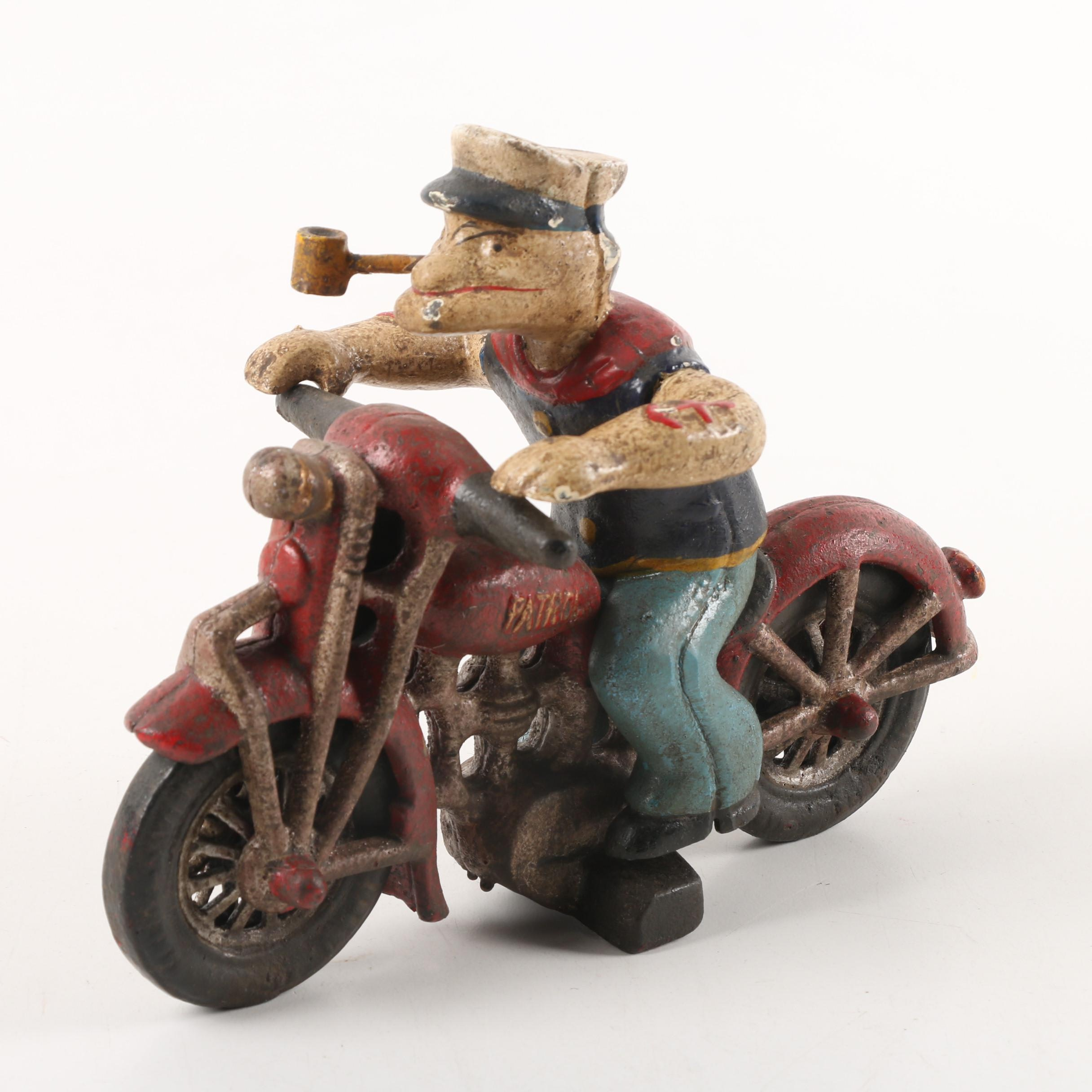 "Circa 1950s Cast Iron ""Popeye"" Figurine in the Style of Hubley"