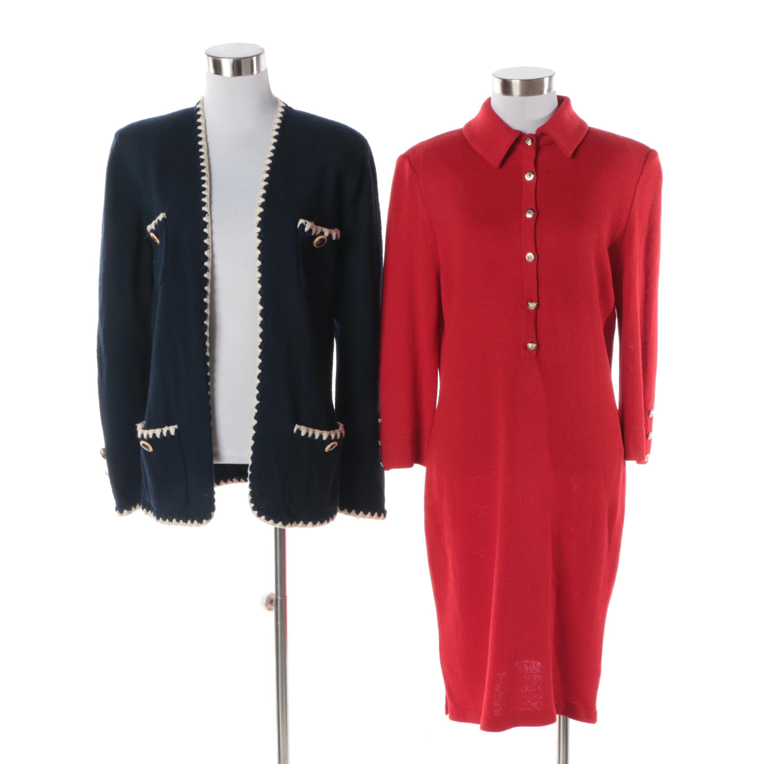 Women's St. John Open-Front Knit Cardigan and St. John Collection Red Knit Dress