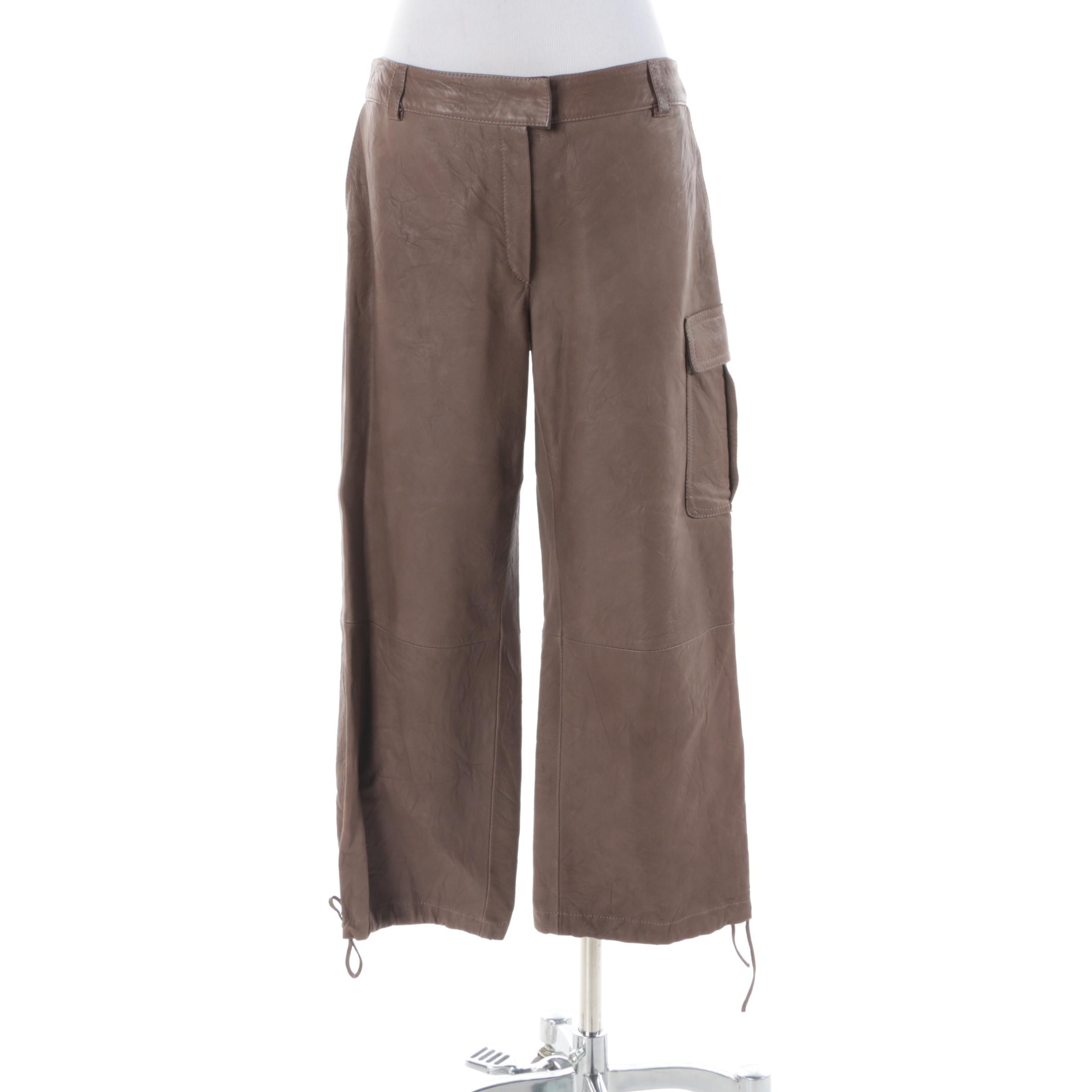 Women's Italian Made Brown Sheepskin Leather Pants