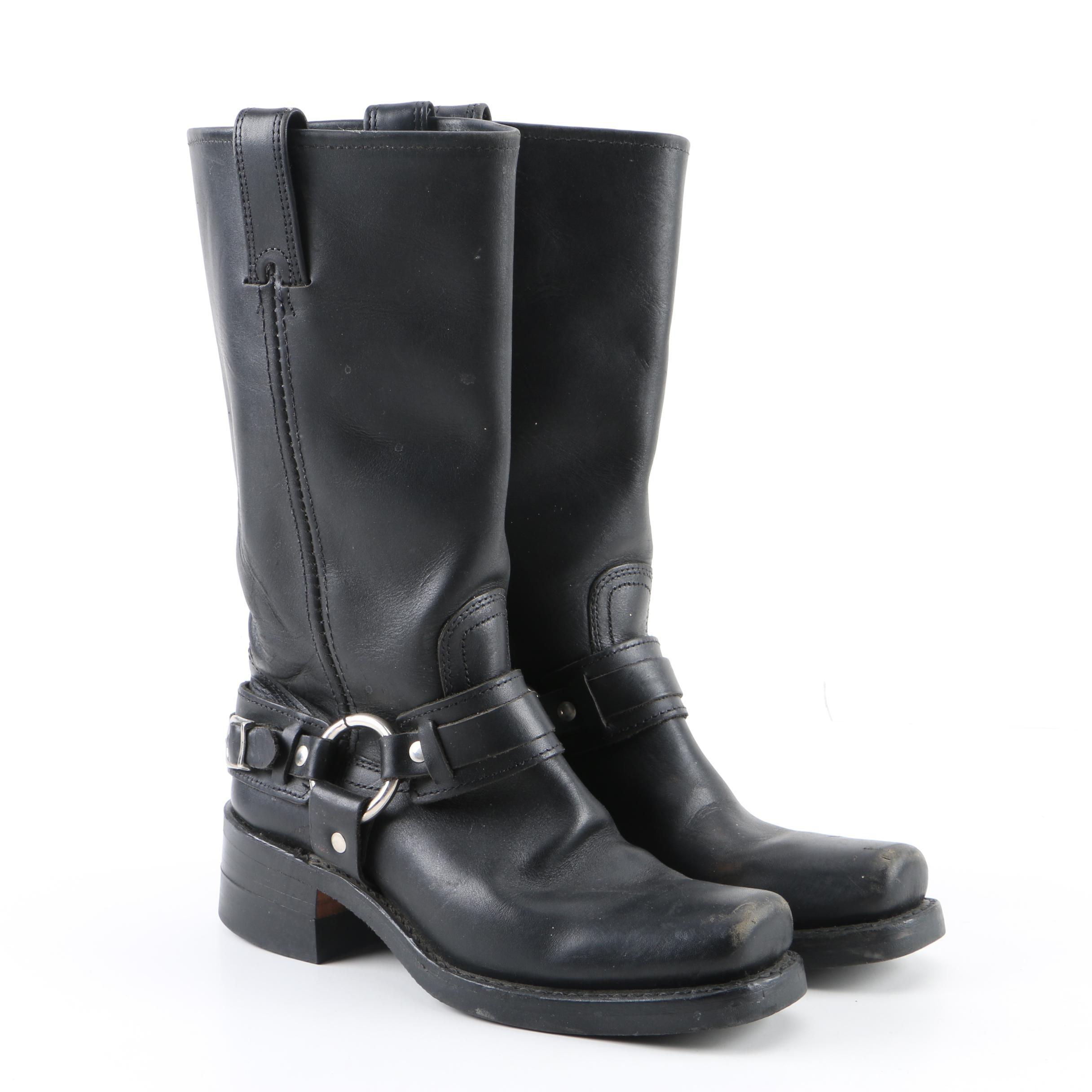 Women's Frye Black Leather Harness Boots