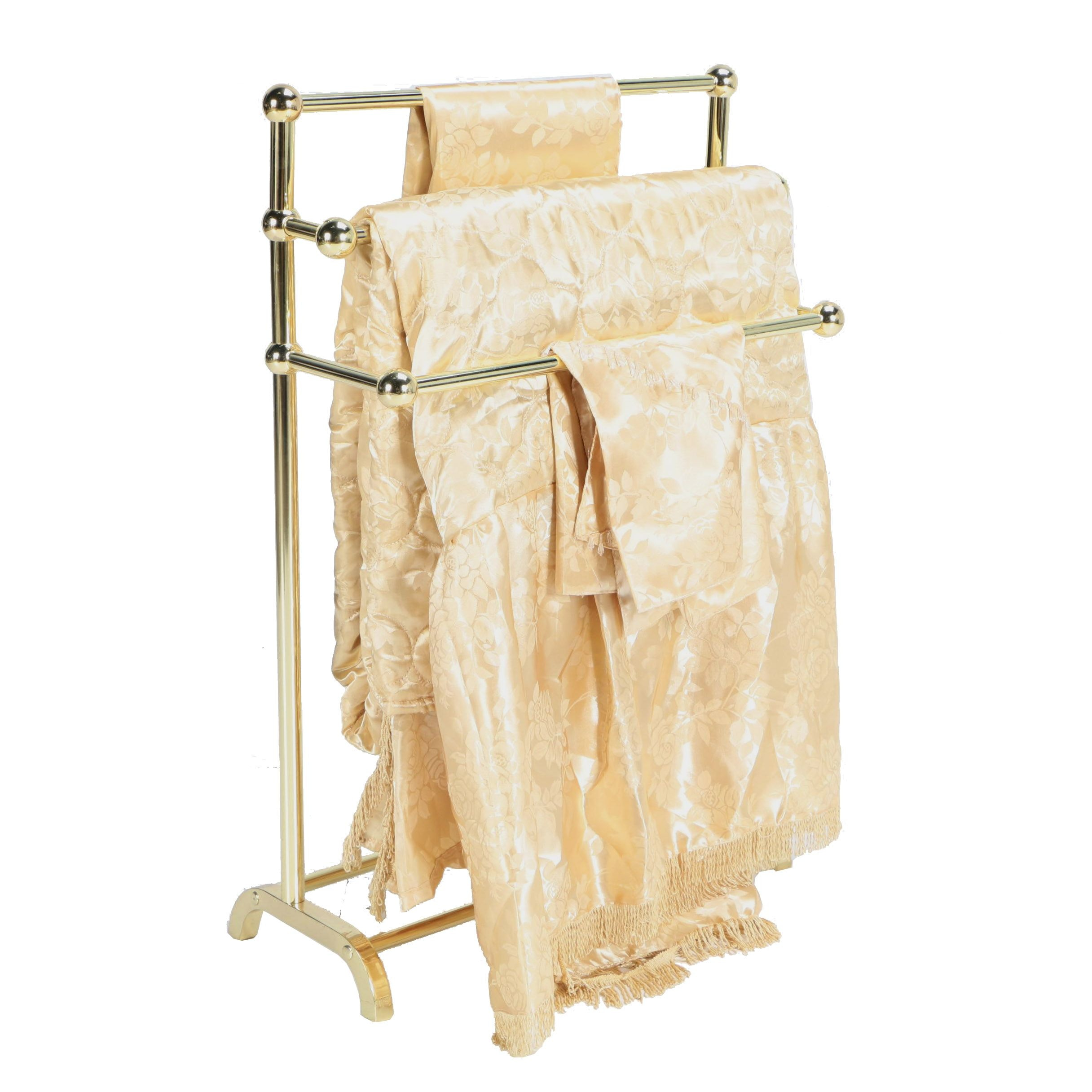 Brass Quilt Rack with Blanket and Pillow Shams