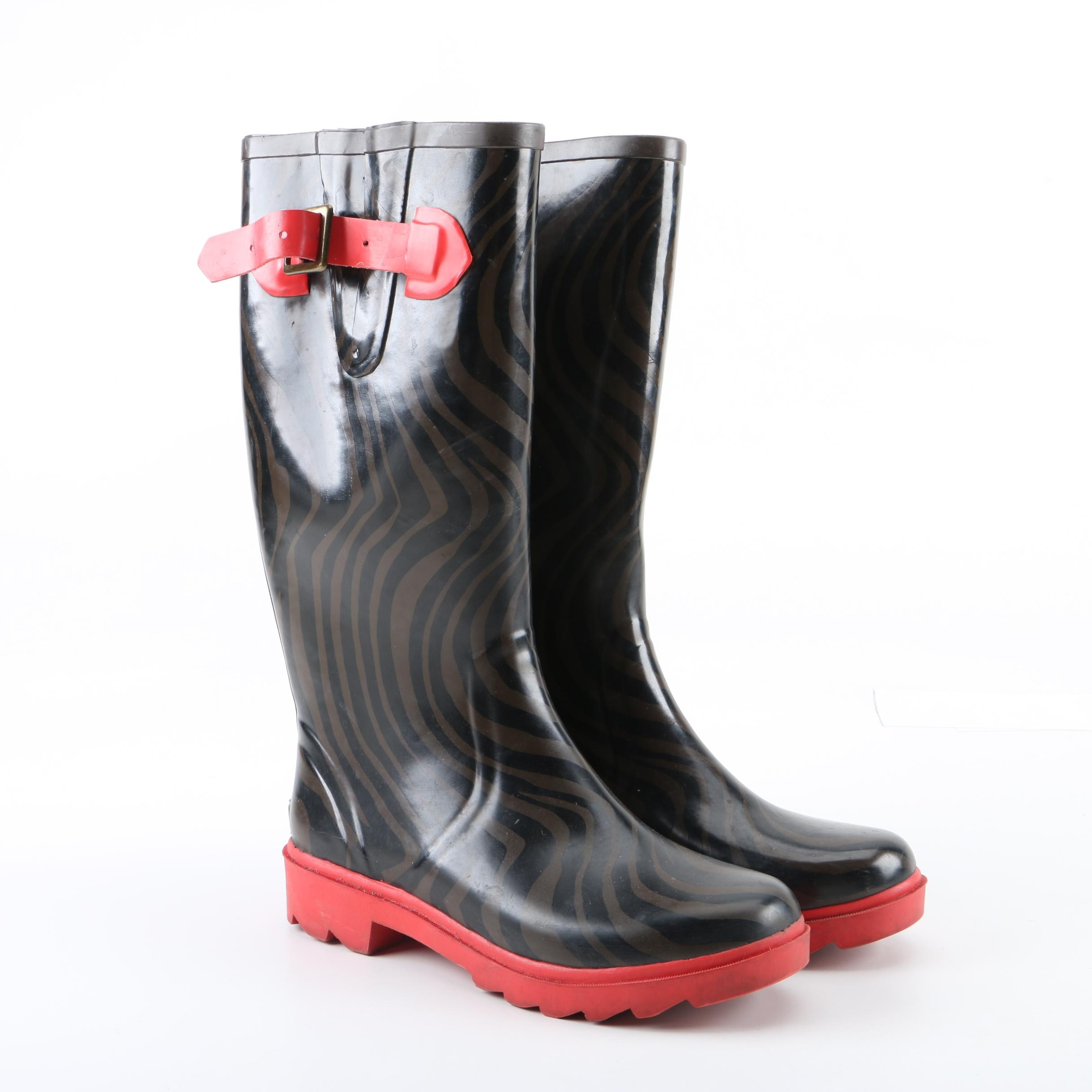 Women's Kate Spade New York Black and Brown Rubber Rain Boots