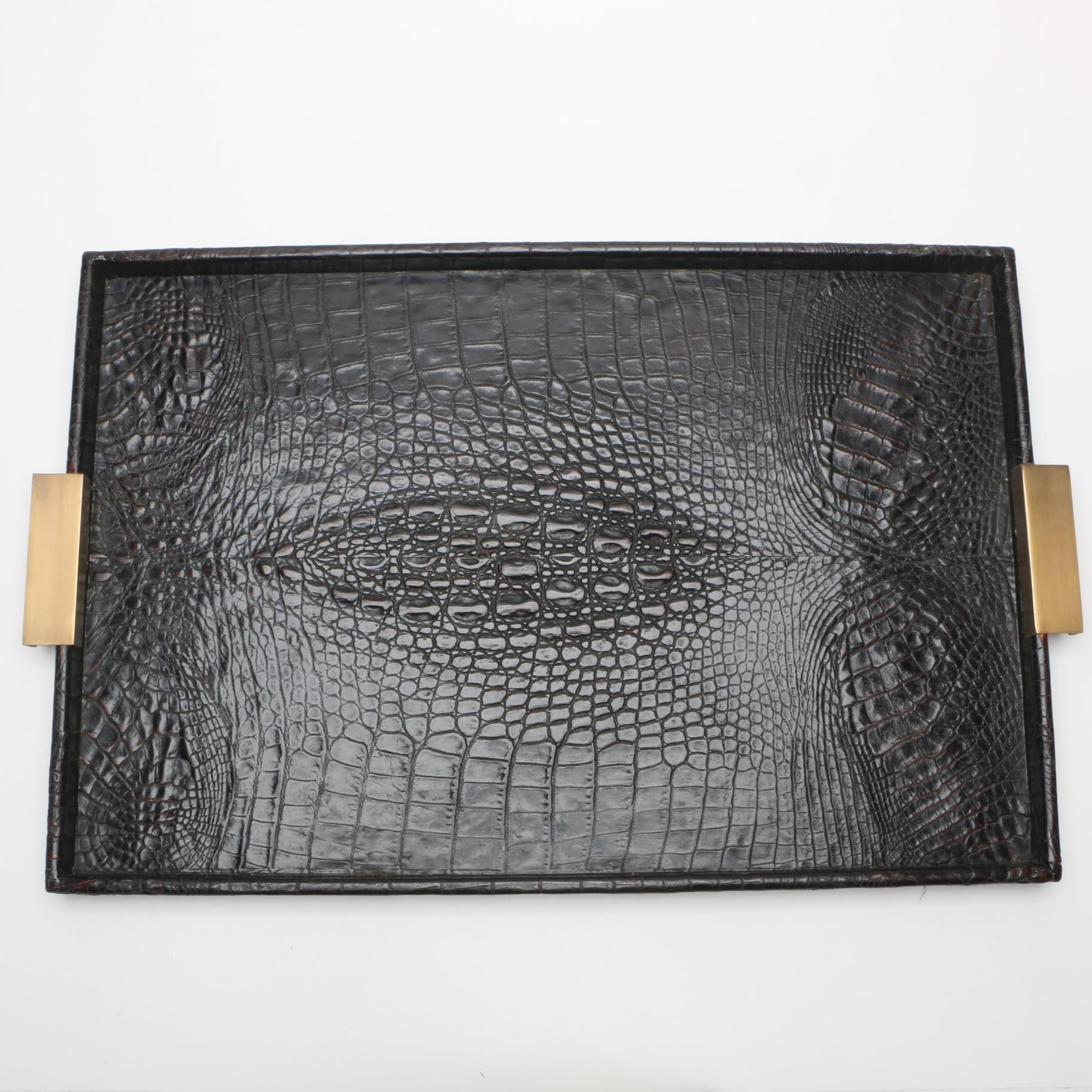 Faux Alligator Skin Motif Textured Tray