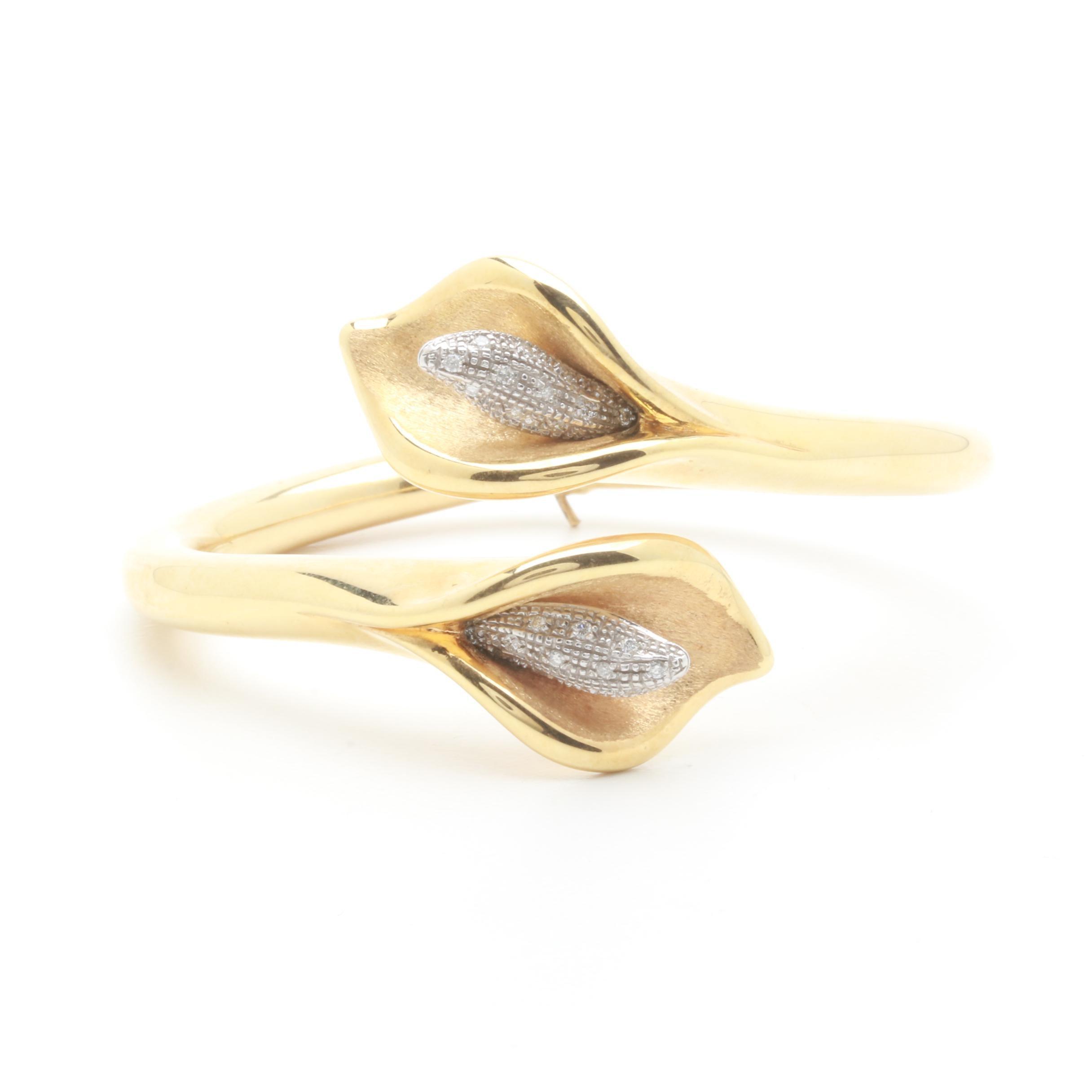 Italian 14K Yellow Gold Diamond Calla Lily Bangle Bracelet