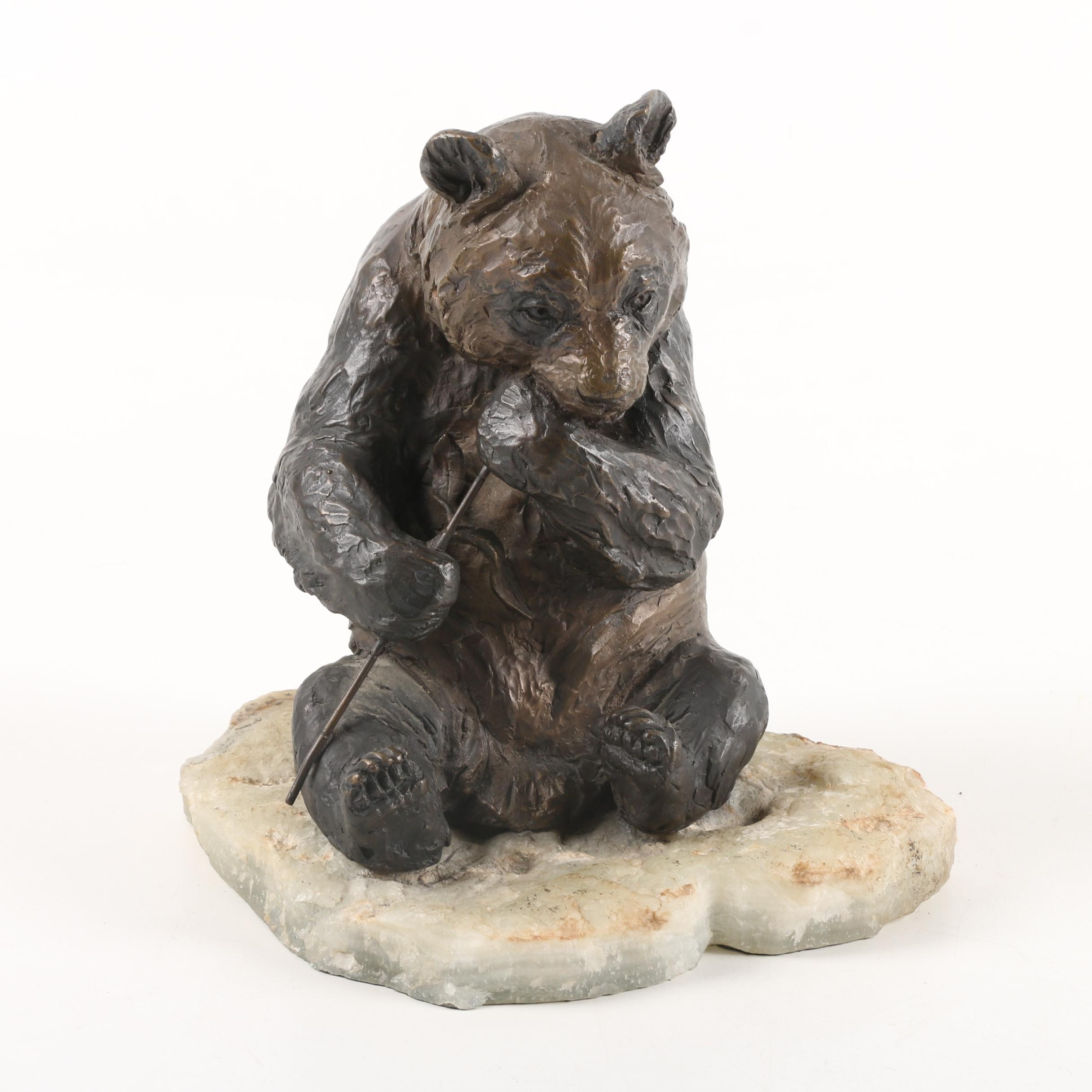 Limited Edition Bronze Tone Sculpture of Panda on Calcite Base