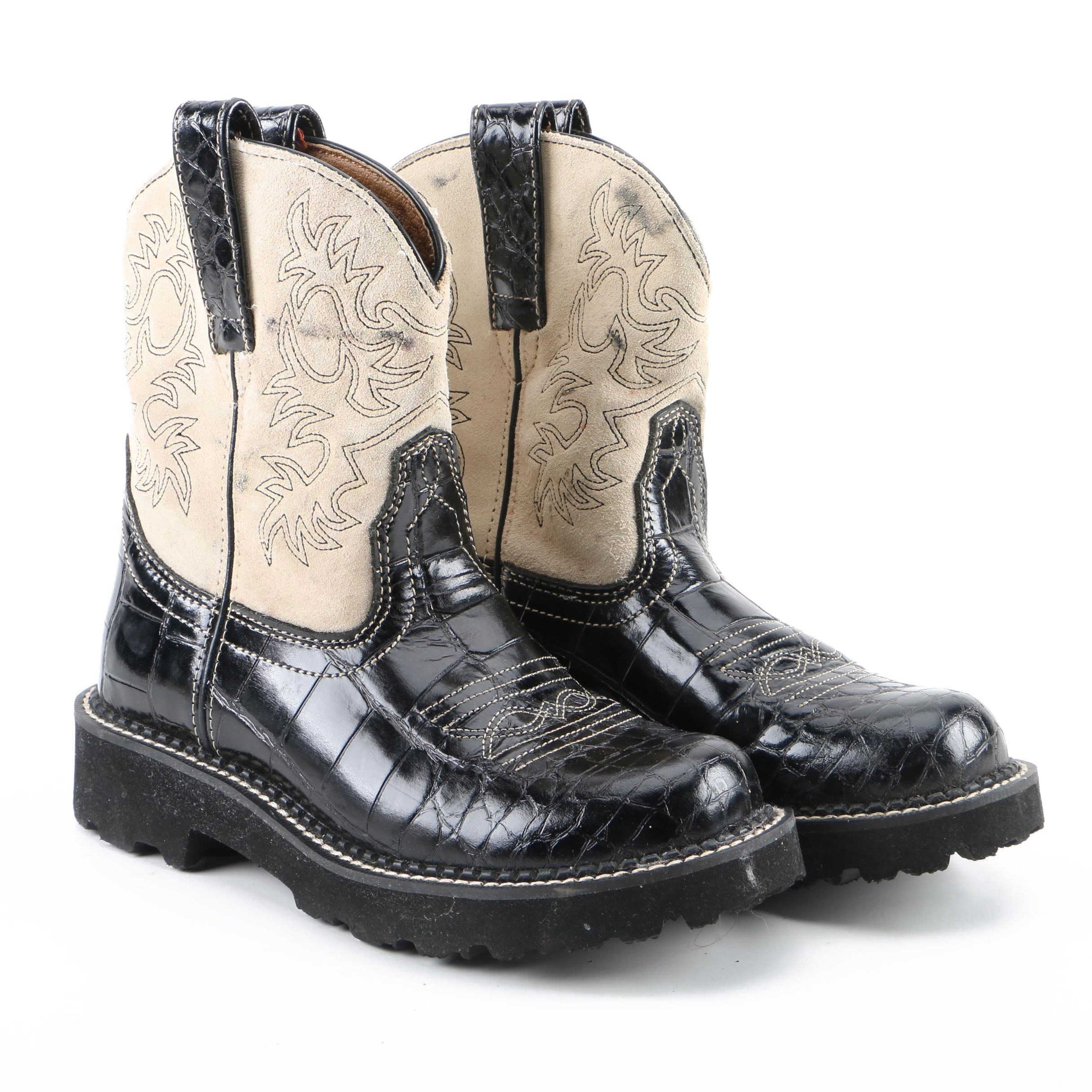 Women's Ariat Fatbaby Black Alligator Embossed Leather Western Boots