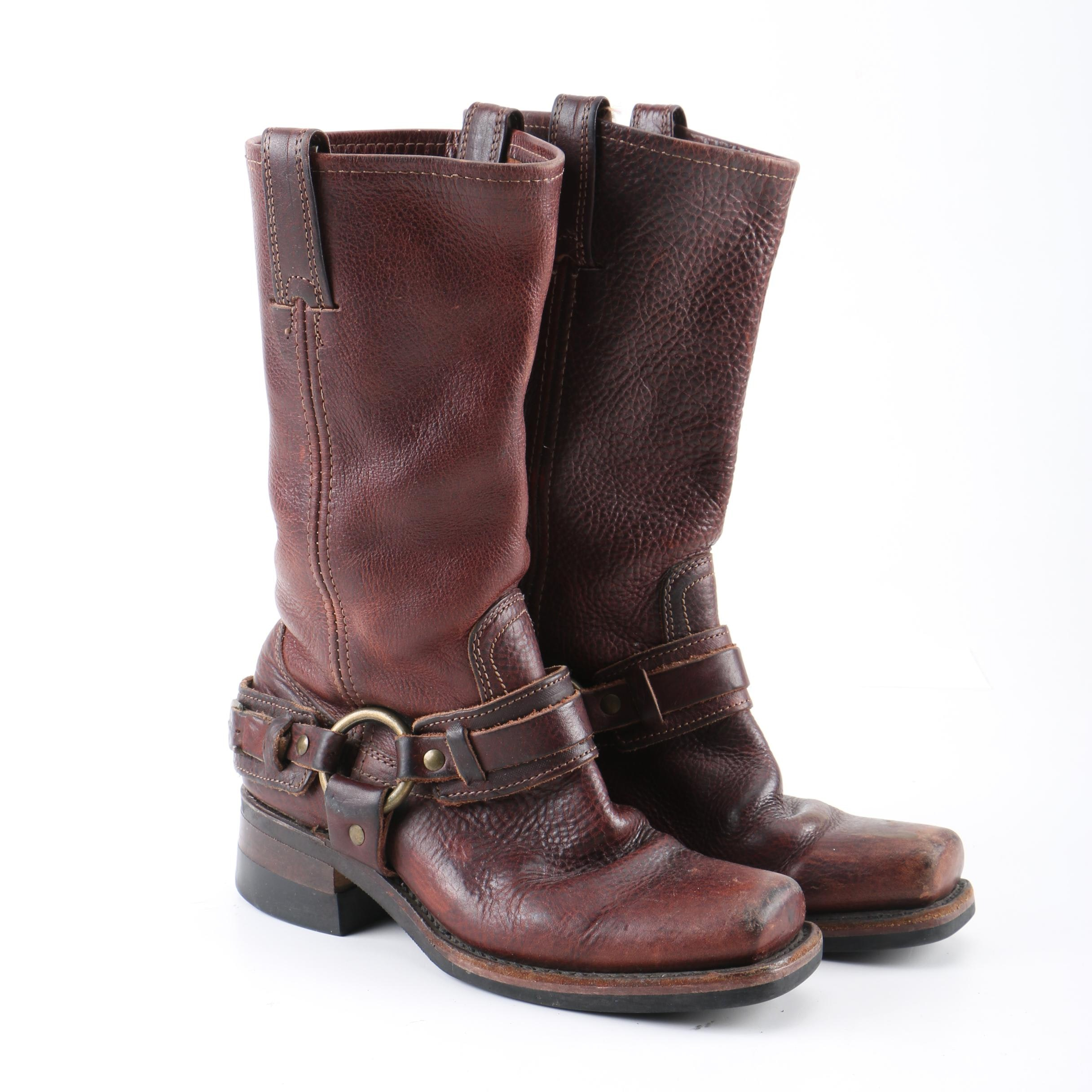 Women's Frye Dark Brown Leather Harness Boots