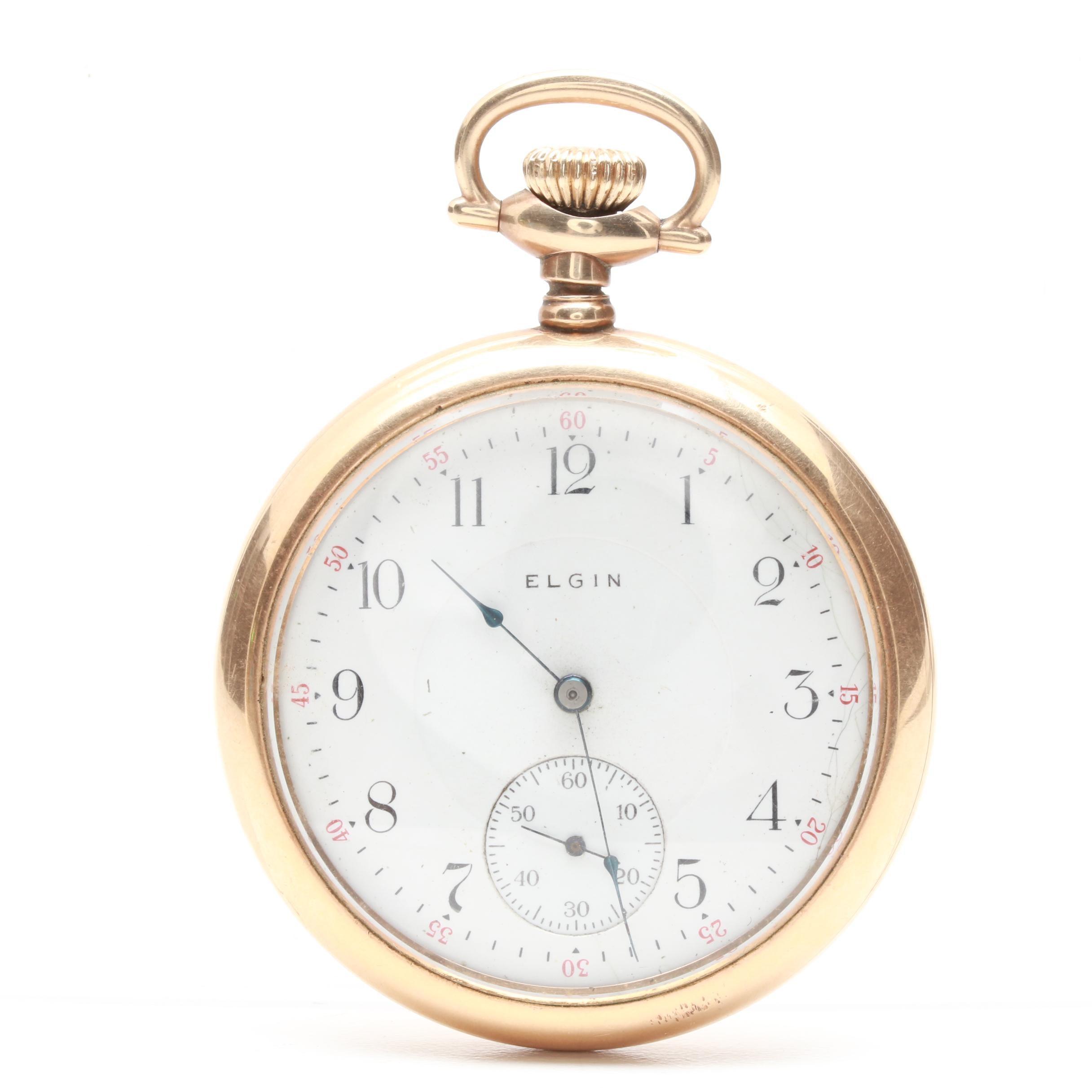 Elgin Gold-Filled White Dial Pocket Watch