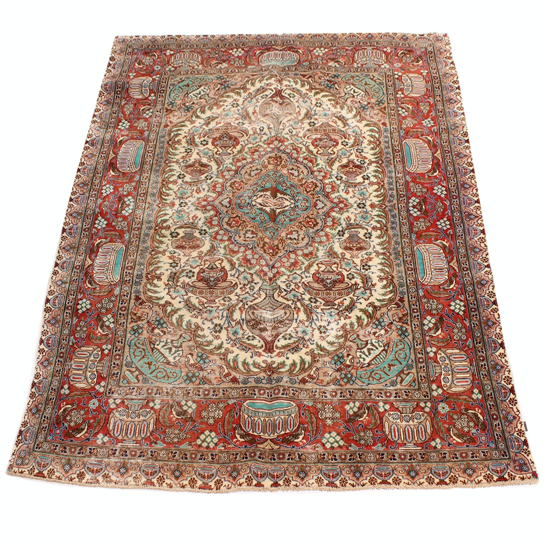 Vintage Hand Knotted Persian Pictorial Kashmar Rug by Boukaeyan