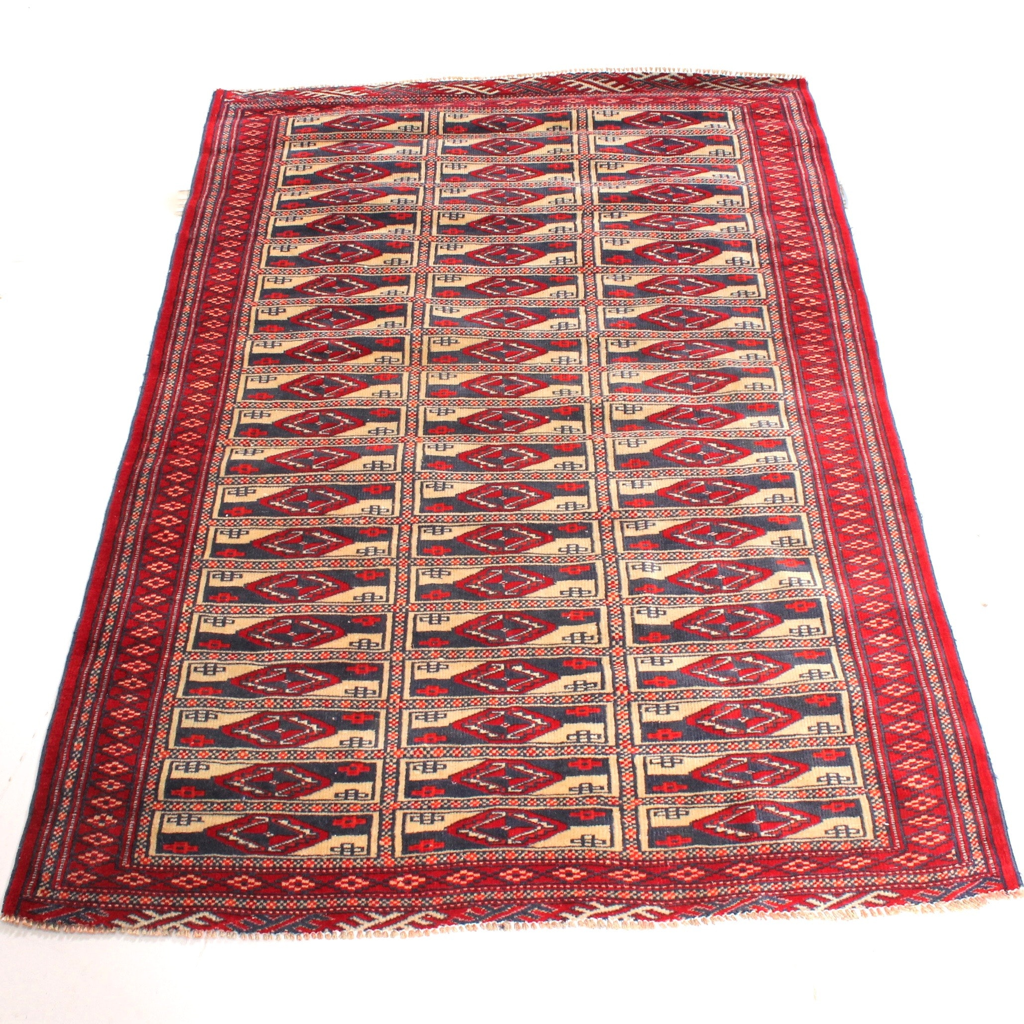 Vintage Hand Knotted Persian Turkman Rug