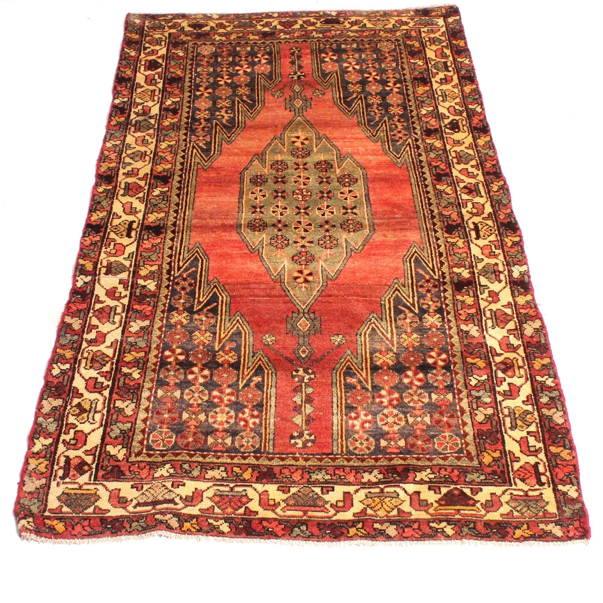 Vintage Hand Knotted Persian Zanjan Rug