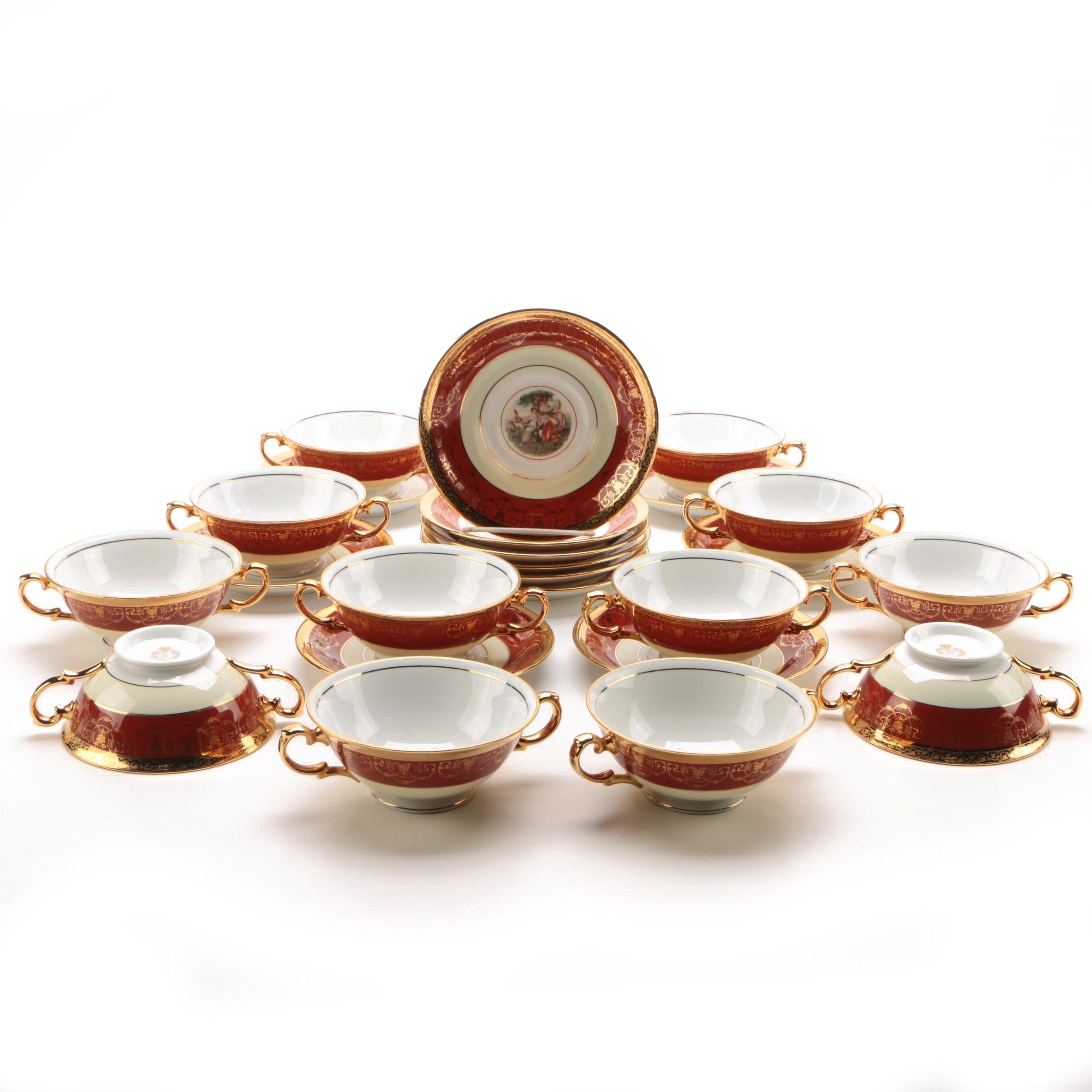 Le Mieux Porcelain Cream Soup Bowls and Saucers