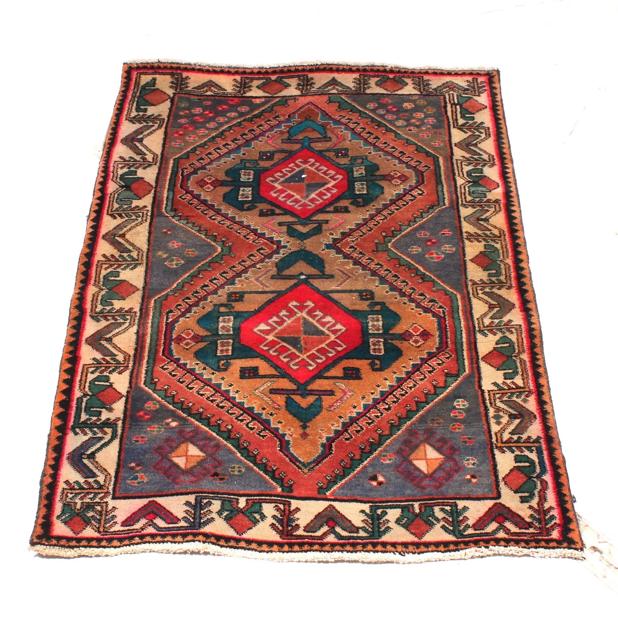 Vintage Hand Knotted Persian Karaja Heriz Rug