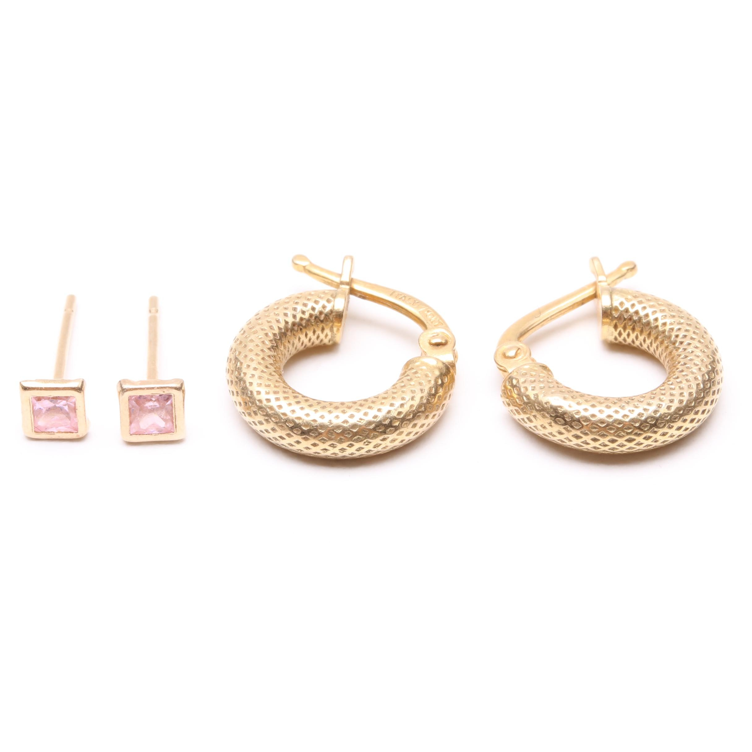 10K Yellow Gold Textured Hoops and 14K Pink Tourmaline Stud Earrings