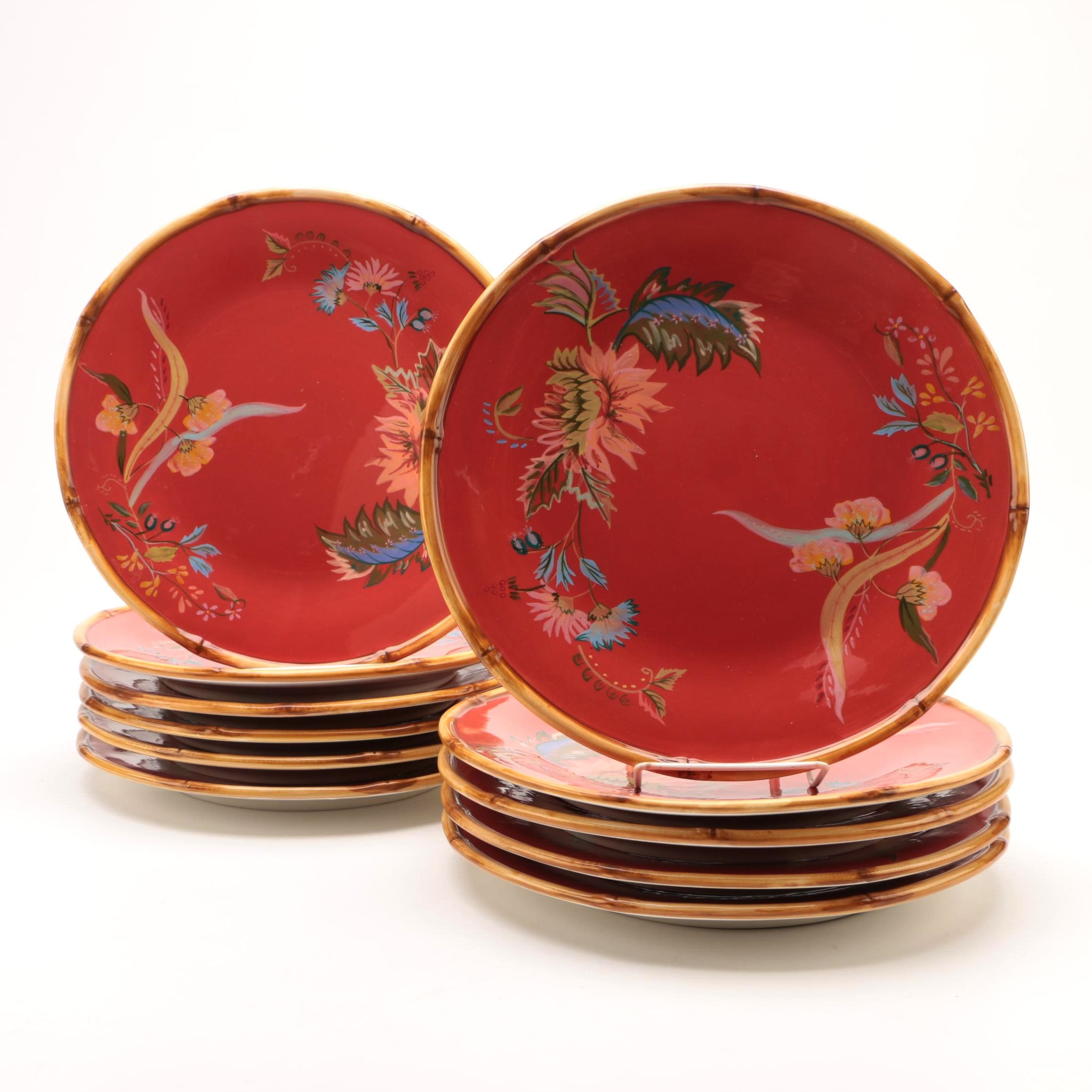 """Tracy Porter """"Artesian Road"""" Hand-Painted Dinner Plates"""