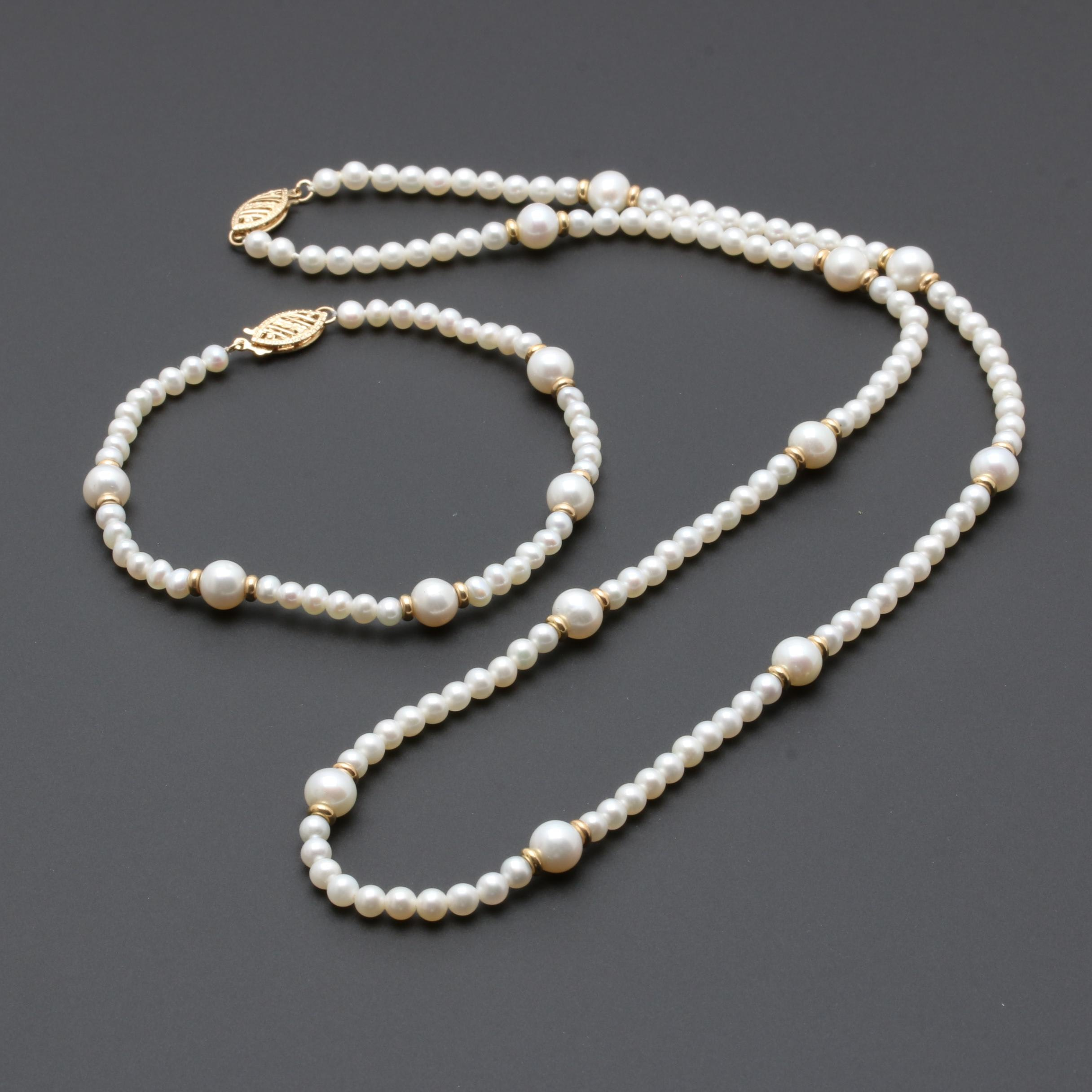 14K Yellow Gold Cultured Freshwater Pearl Demi Parure