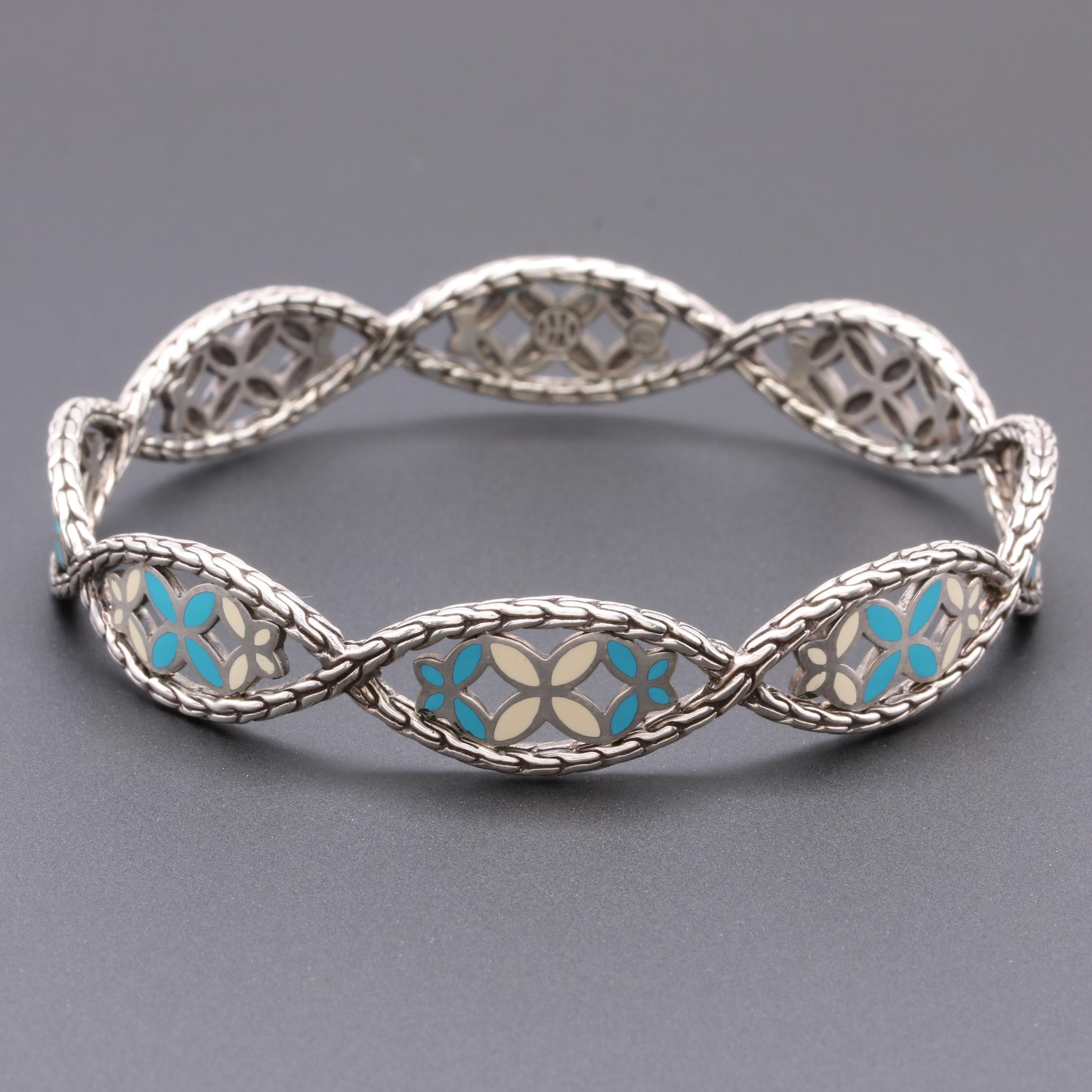 "John Hardy ""Kawung"" Collection Sterling Silver Enamel Bangle Bracelet"