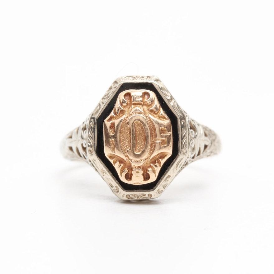 bede6bb8a00 Vintage 10K White and Yellow Gold Enamel Monogram Ring : EBTH