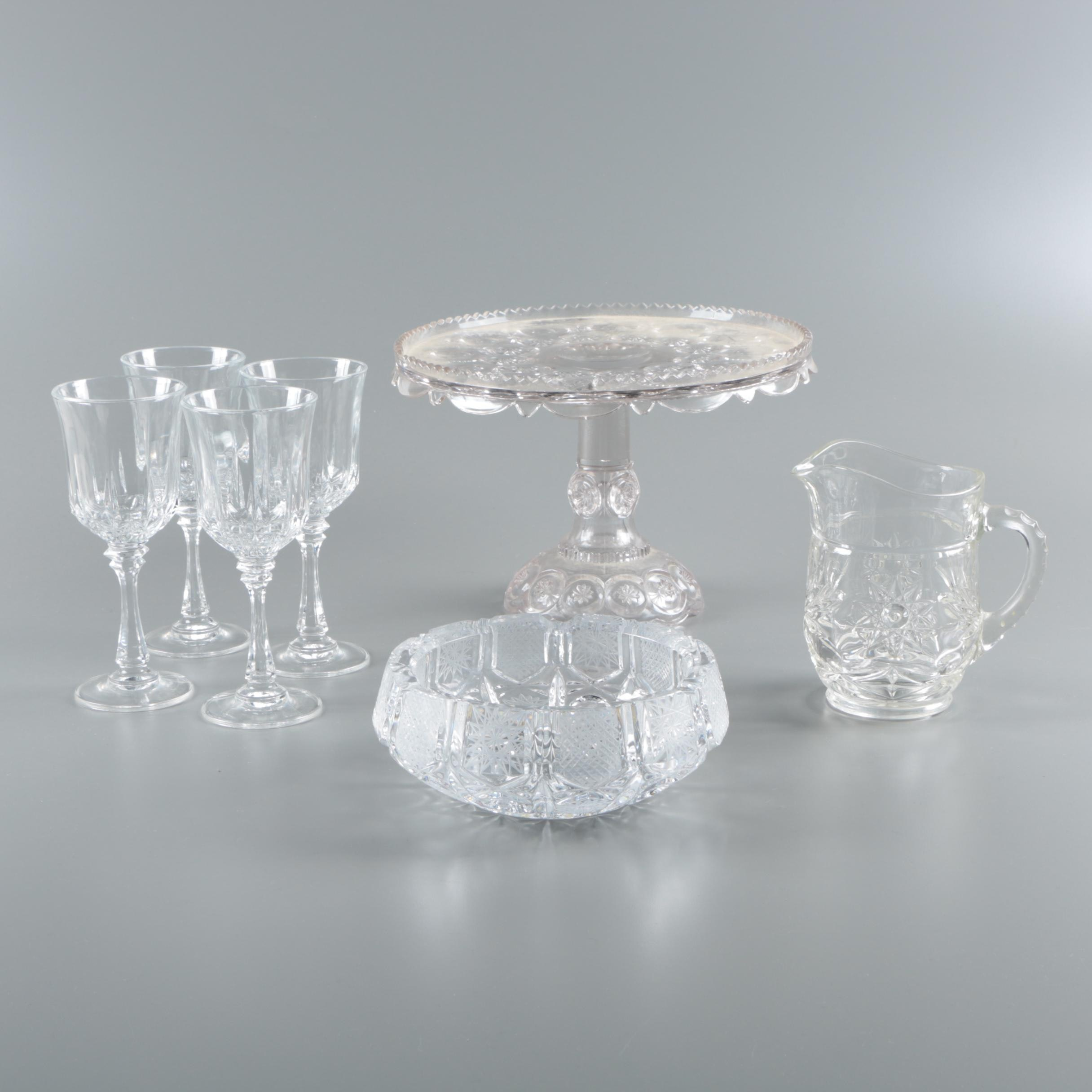 Crystal Wine Glasses and Ash Receiver with Glass Pitcher and Cake Stand