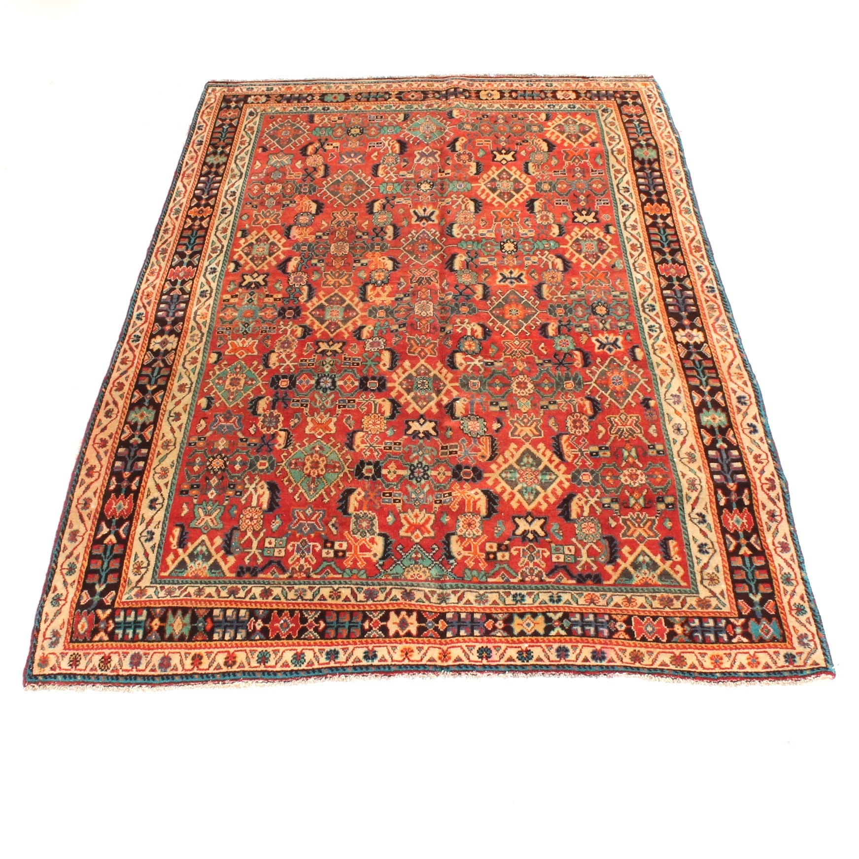 Vintage Hand Knotted Persian Qashqai Rug