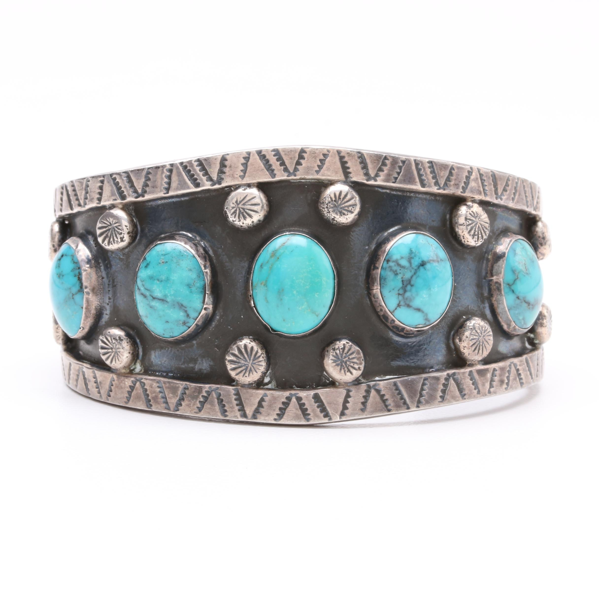 Mexican Made Sterling Silver Turquoise Cuff Bangle