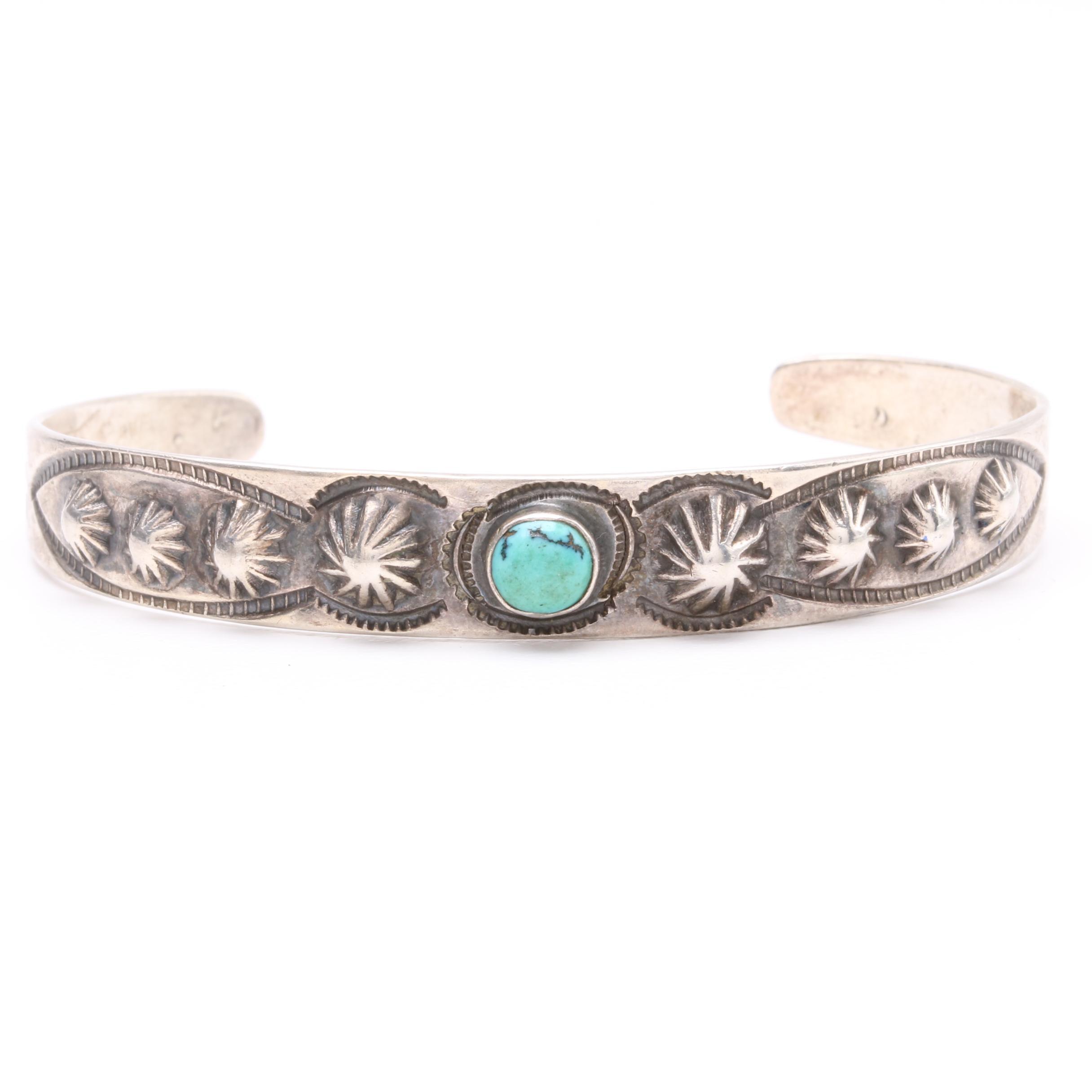 1920s Fred Harvey Southwestern Style Sterling Silver Turquoise Cuff Bracelet