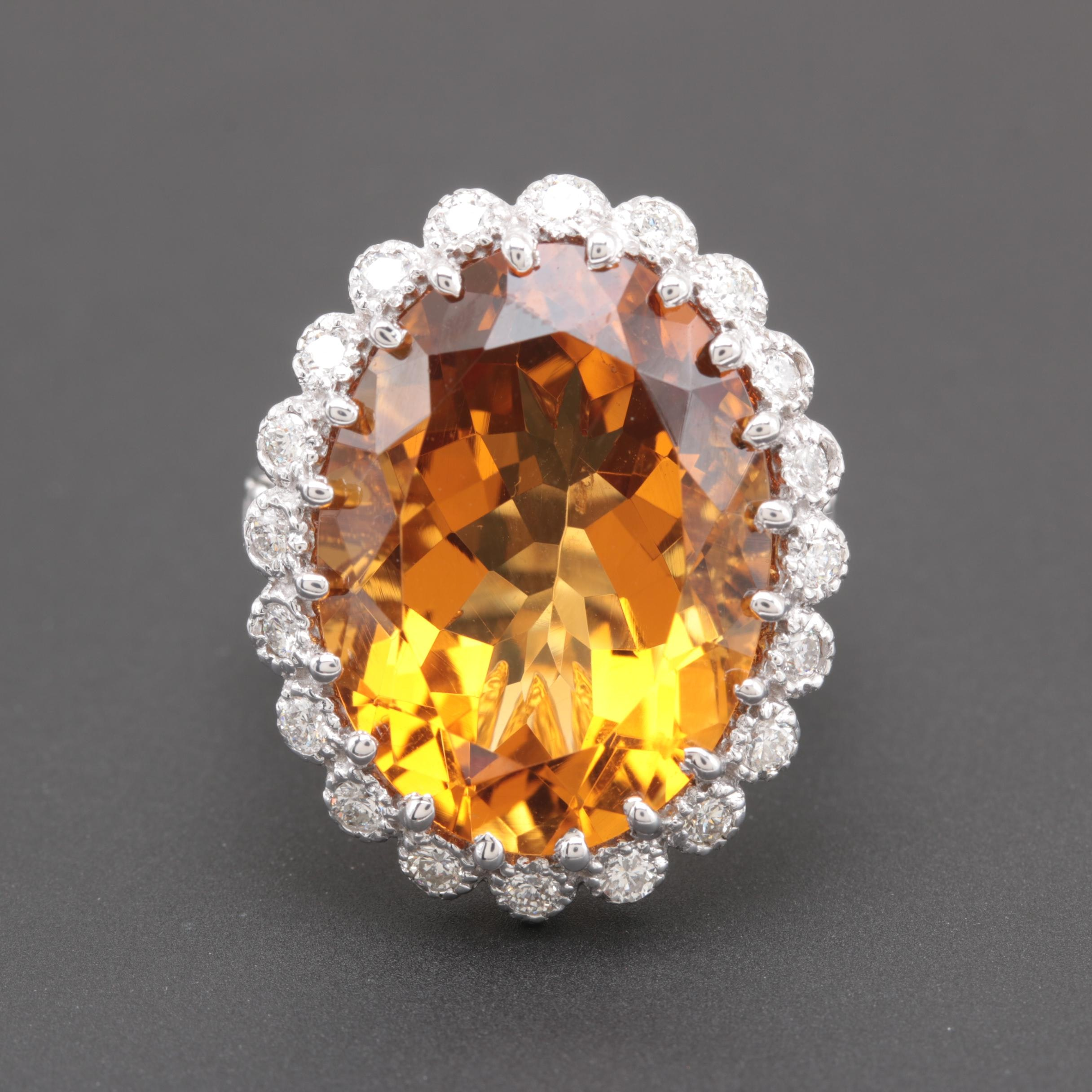 14K White Gold 14.16 CT Citrine and Diamond Ring