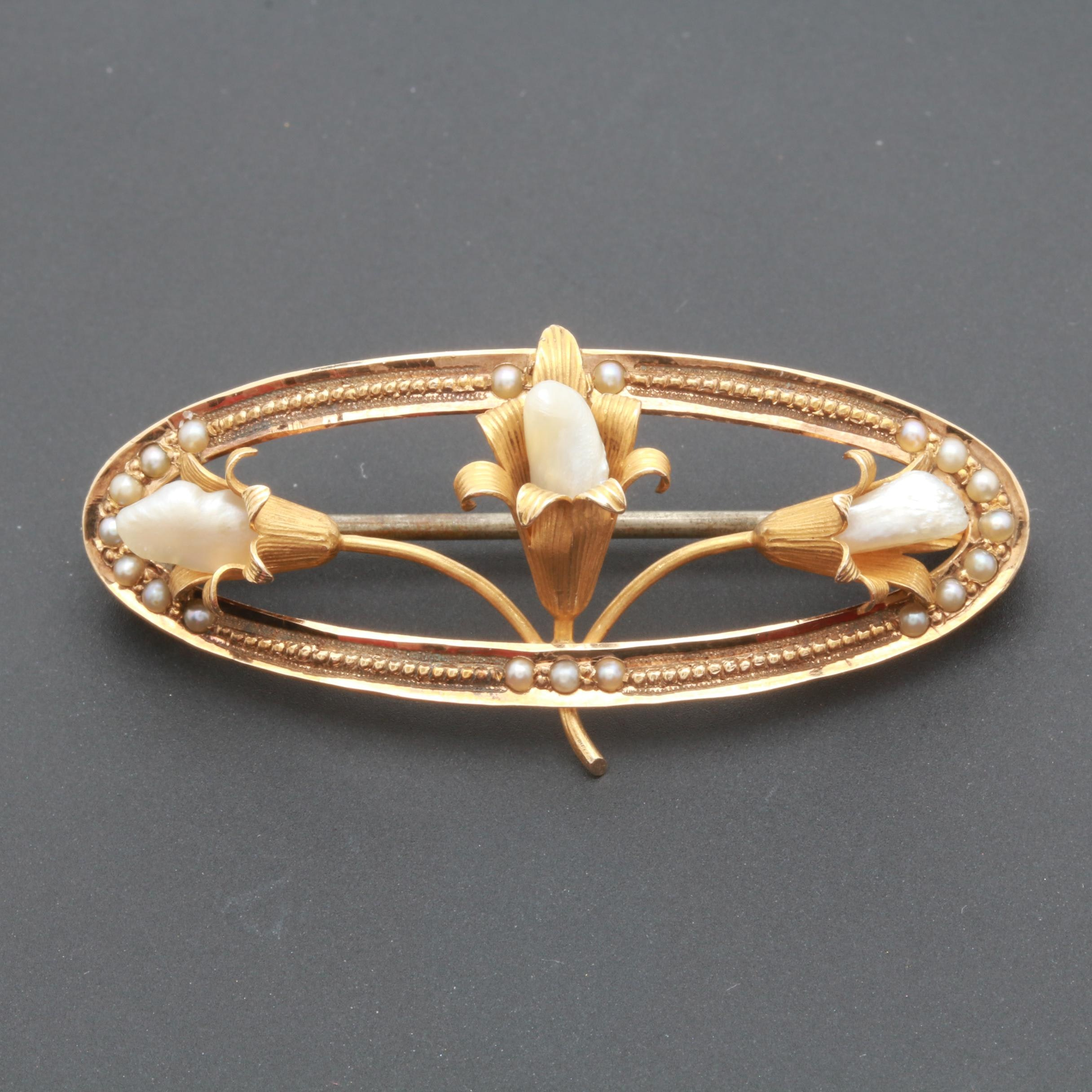 Arts and Crafts 14K Yellow Gold Seed and Cultured Pearl Brooch