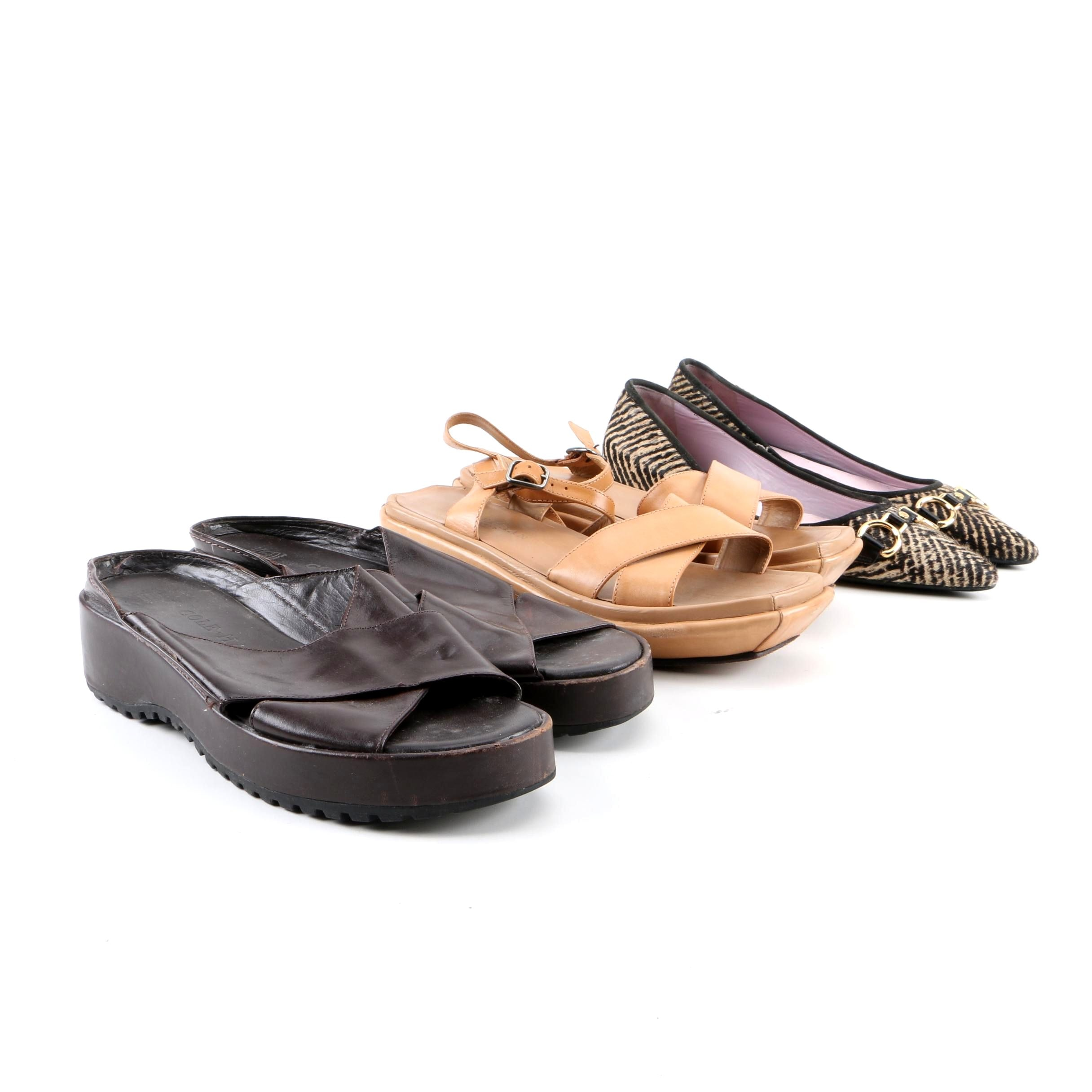 Women's Cole Haan Calf Hair Flats and Leather Sandals