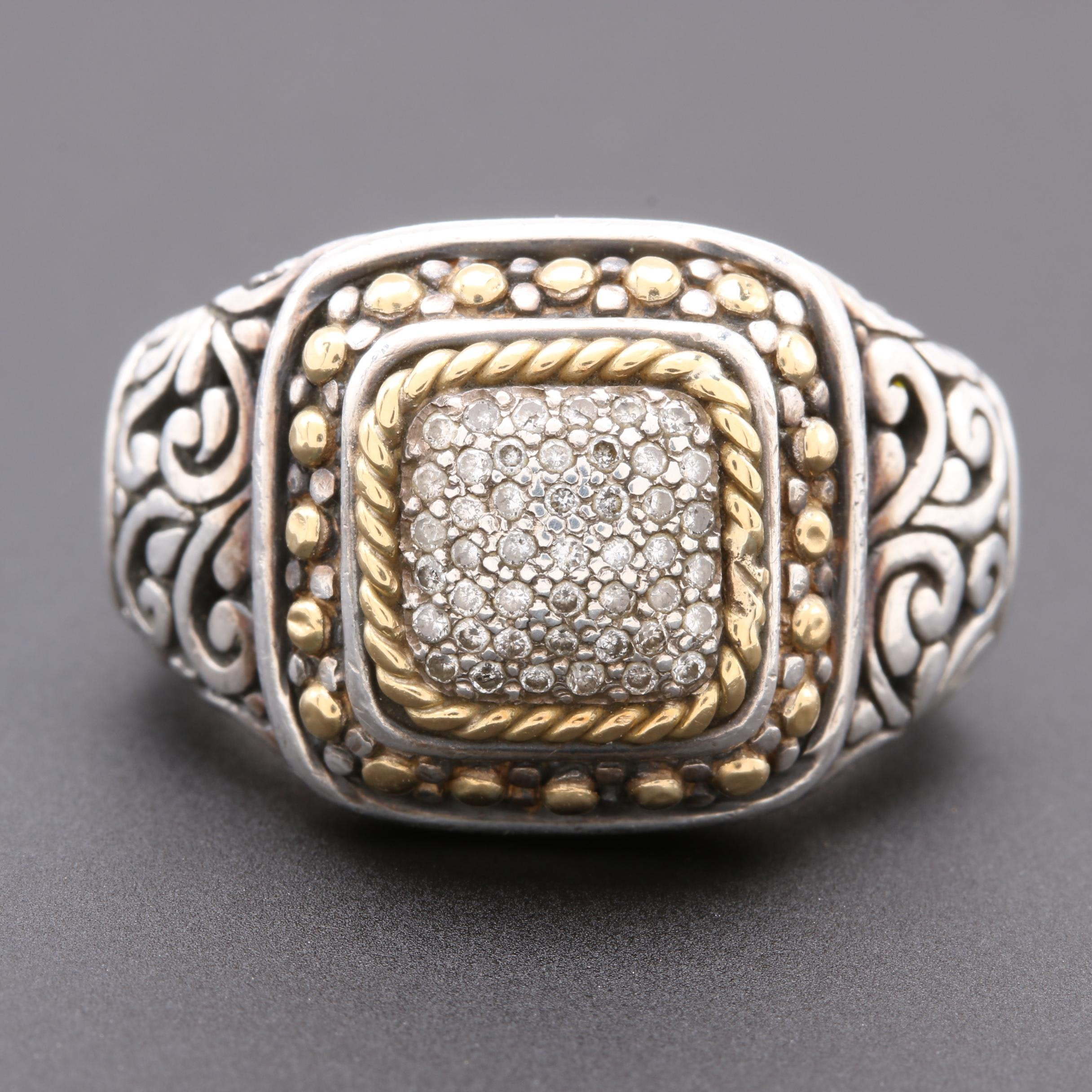 Samuel Benham Sterling Silver Diamond Ring with 18K Yellow Gold Accents