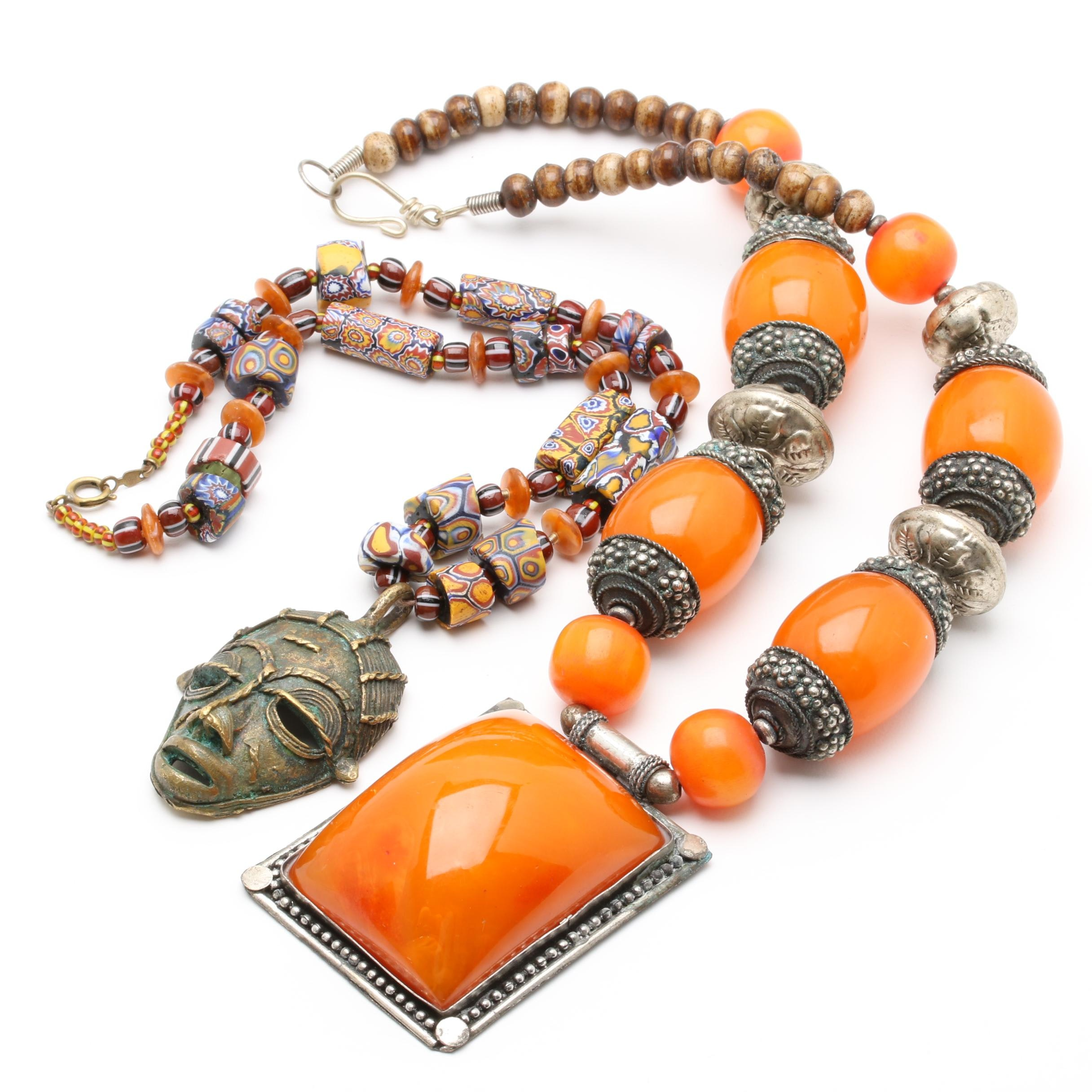African Trade Bead and Amber Necklaces