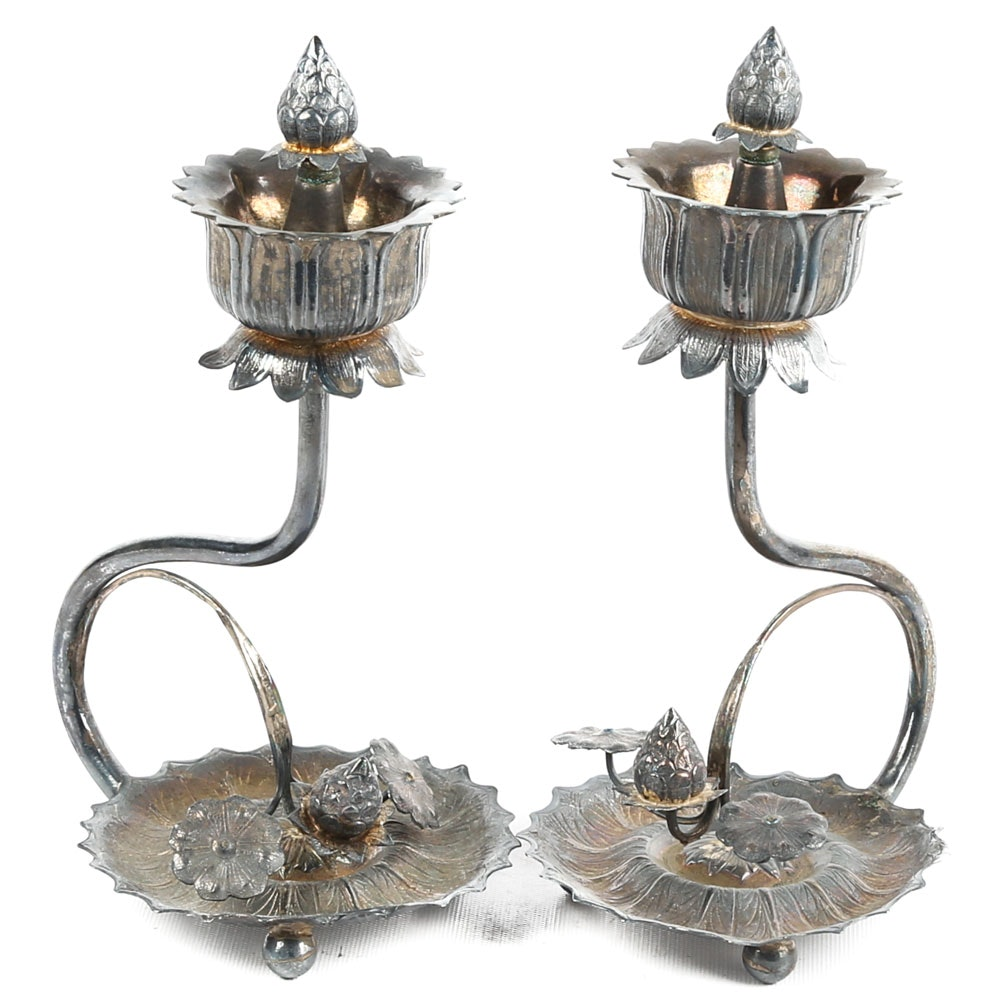 Vintage Plated Silver Indian Diya Lamps