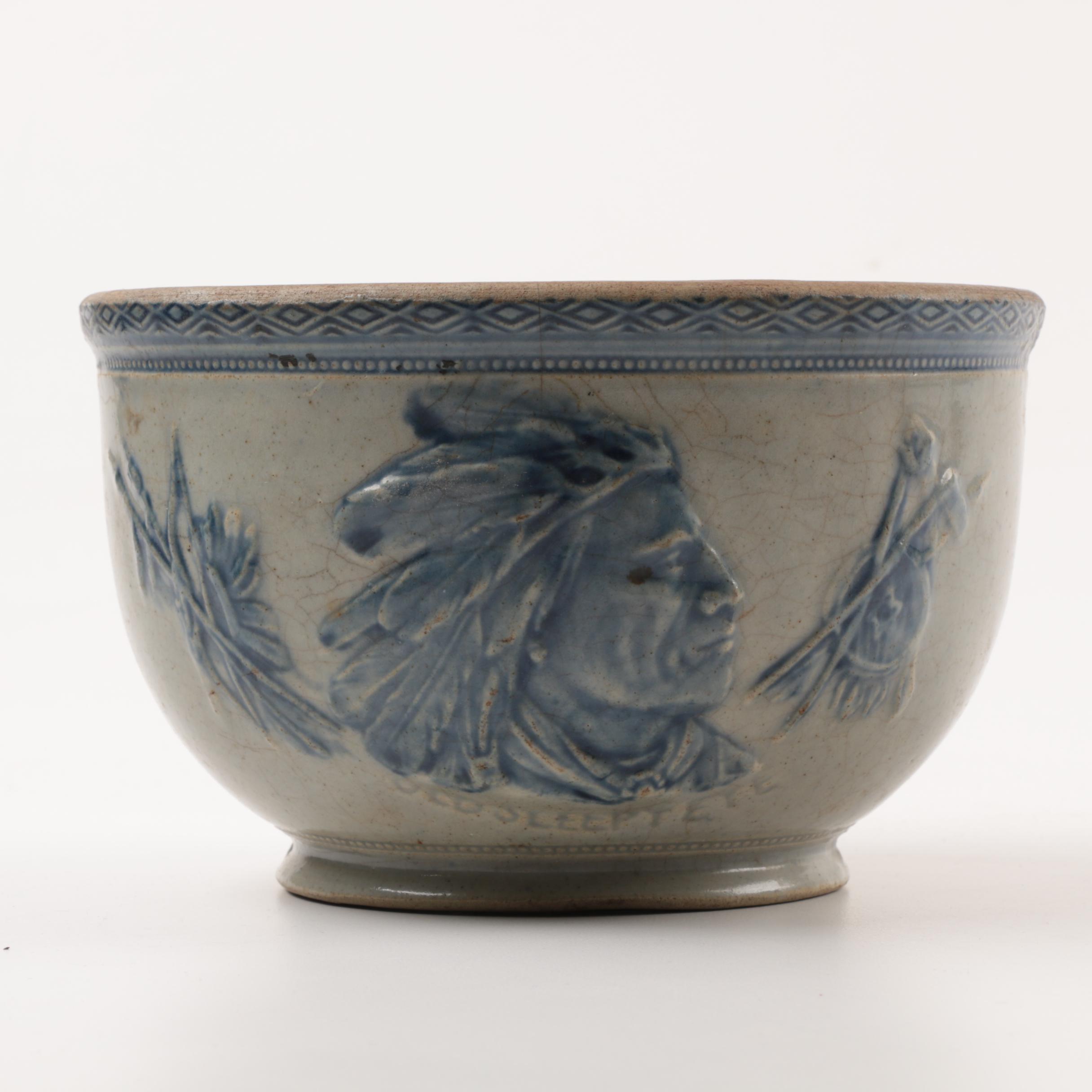"Antique ""Old Sleepy Eye"" Salt Glazed Stoneware Bowl"