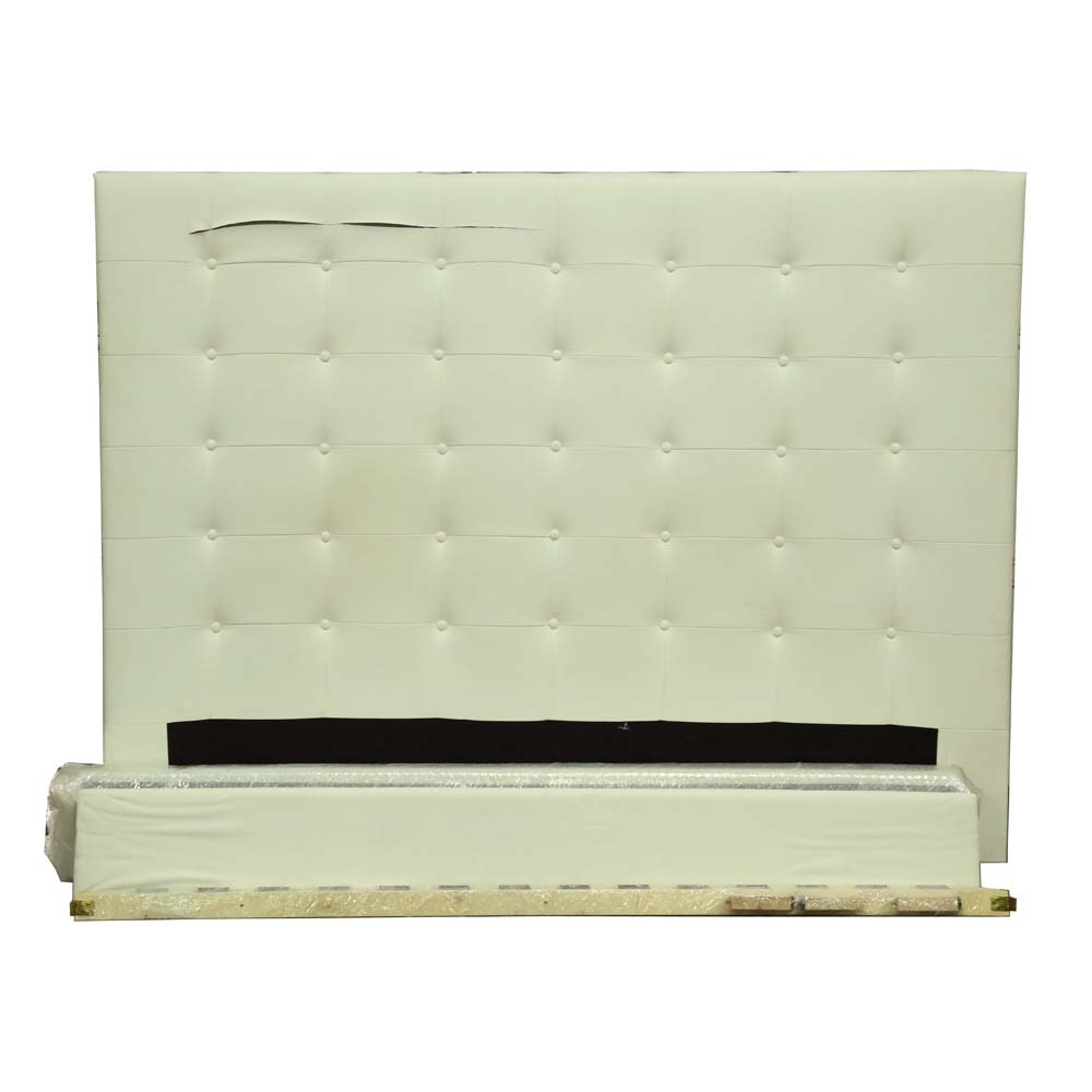 Tufted White Leather Headboard