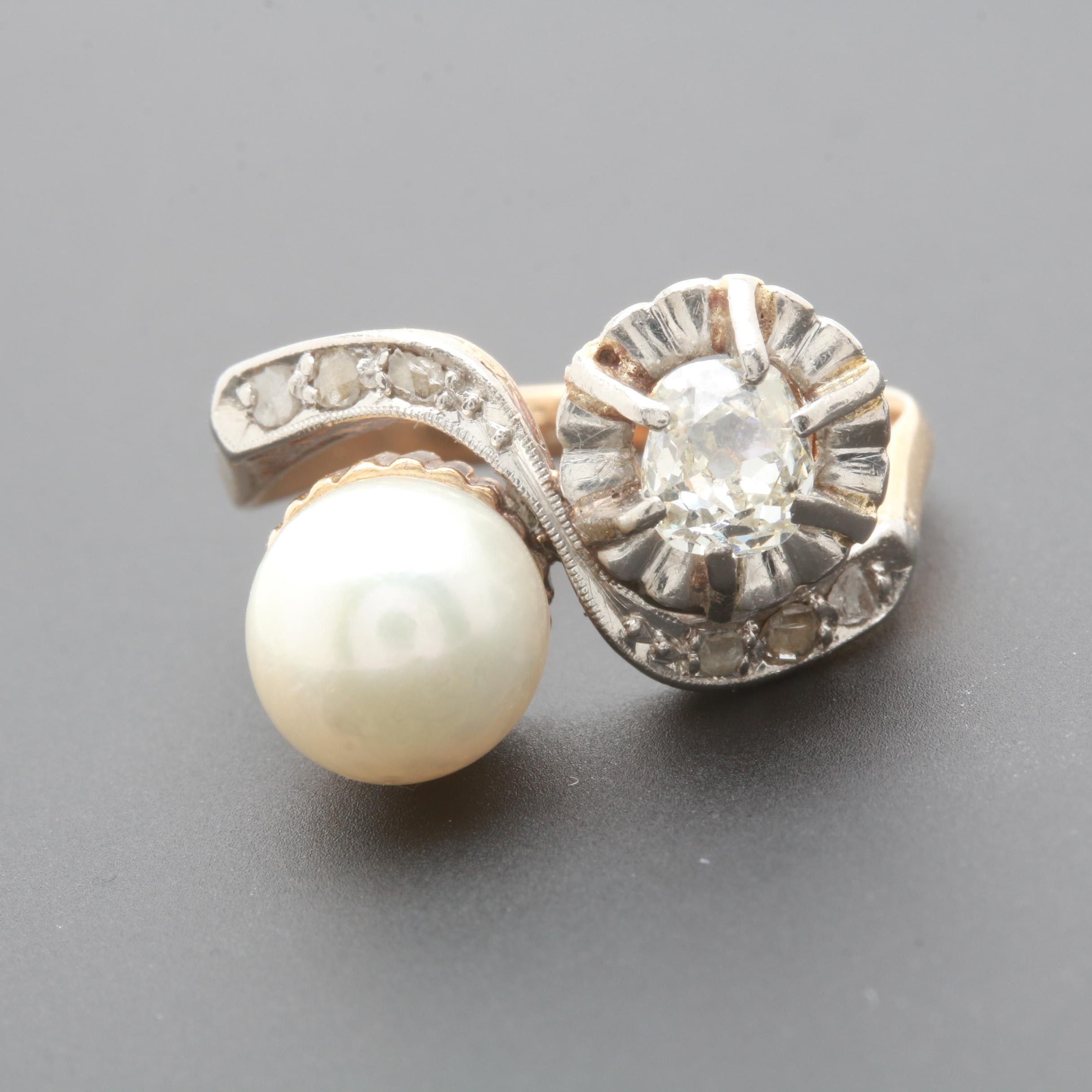 18K Yellow Gold Cultured Pearl and Diamond Ring with White Gold Accents