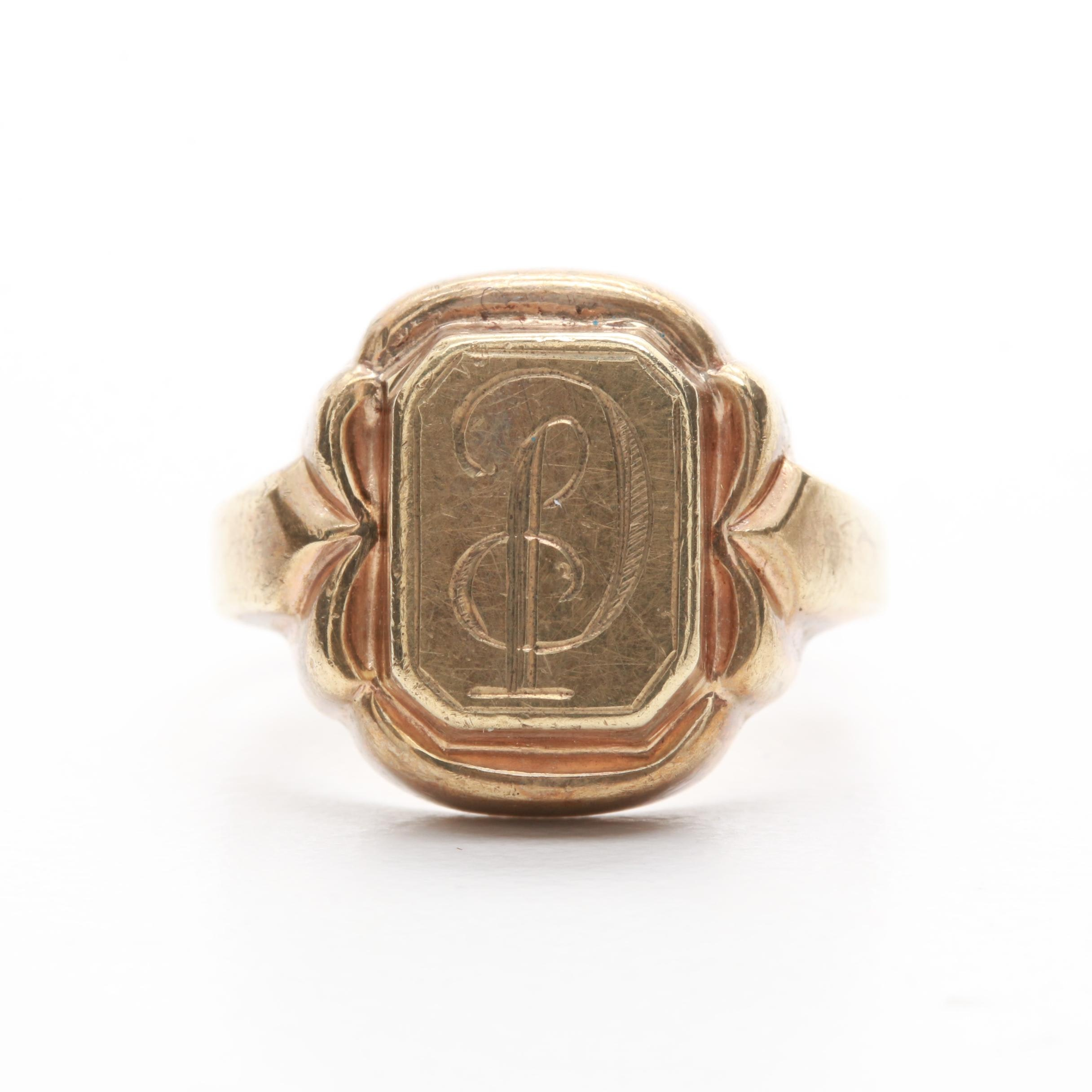 Vintage 8K Yellow Gold Signet Ring with Personalized Monogram