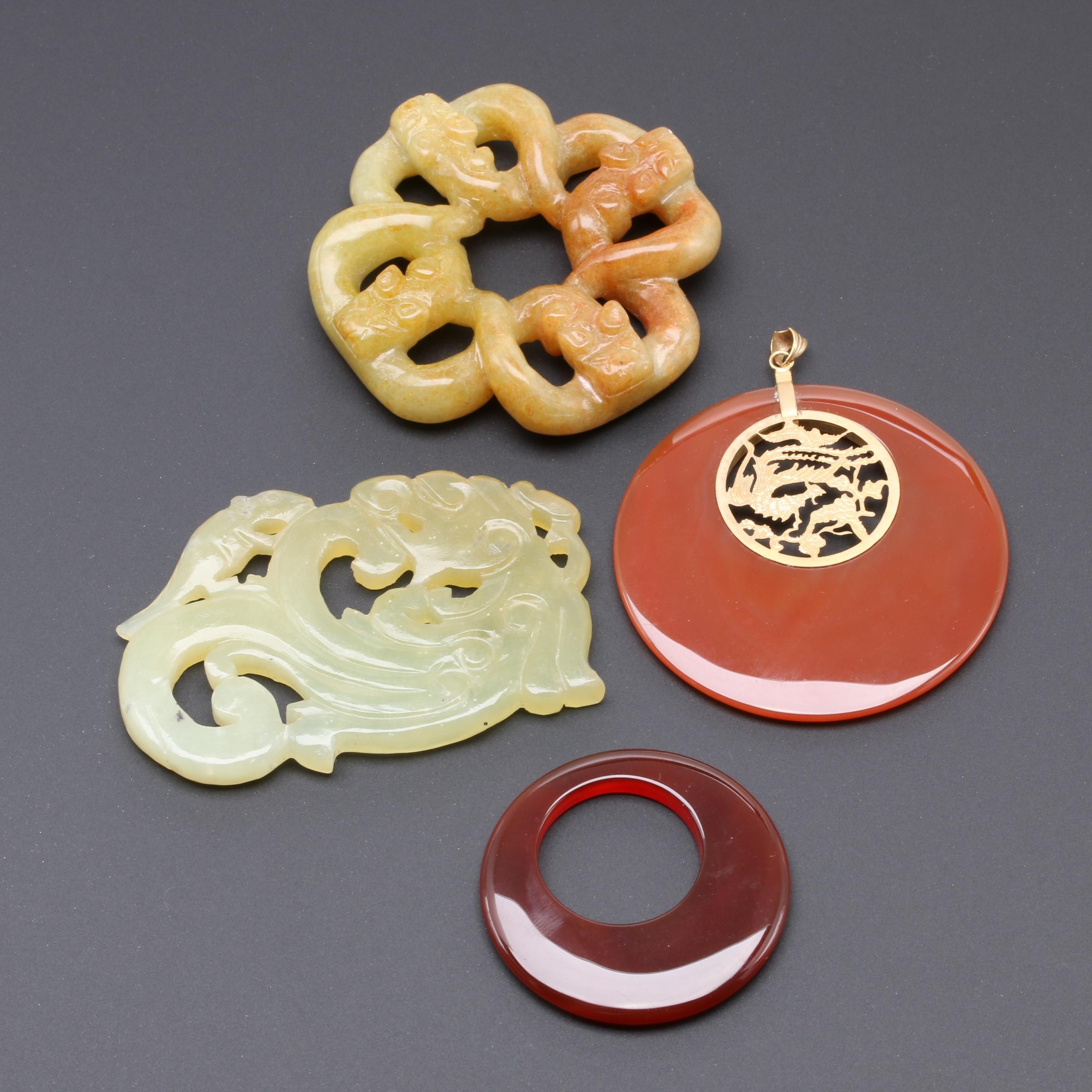 Collection of Chinese Carnelian and Bowenite Carvings and Pendant
