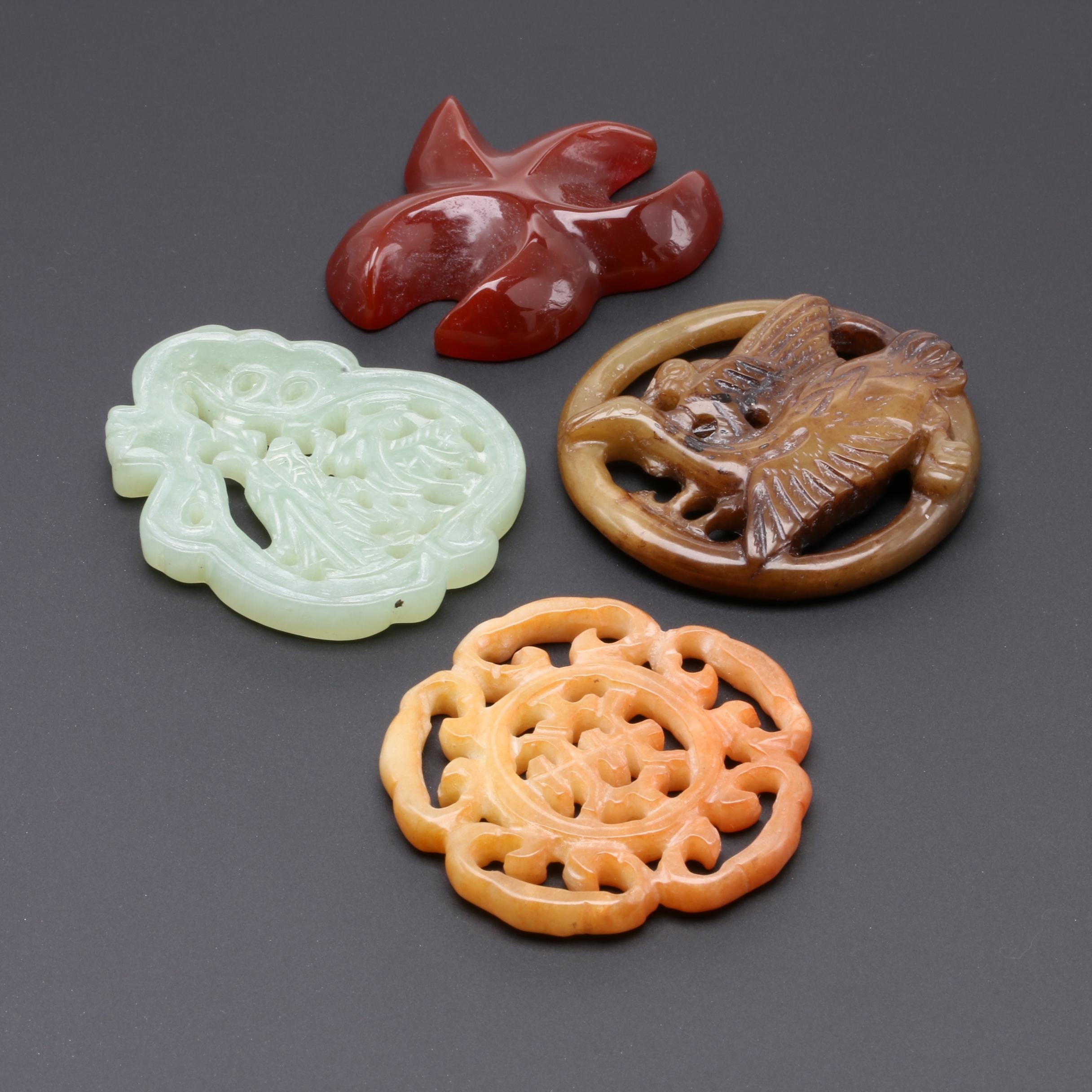 Assortment of Chinese Carnelian, Serpentine, and Bowenite Carvings