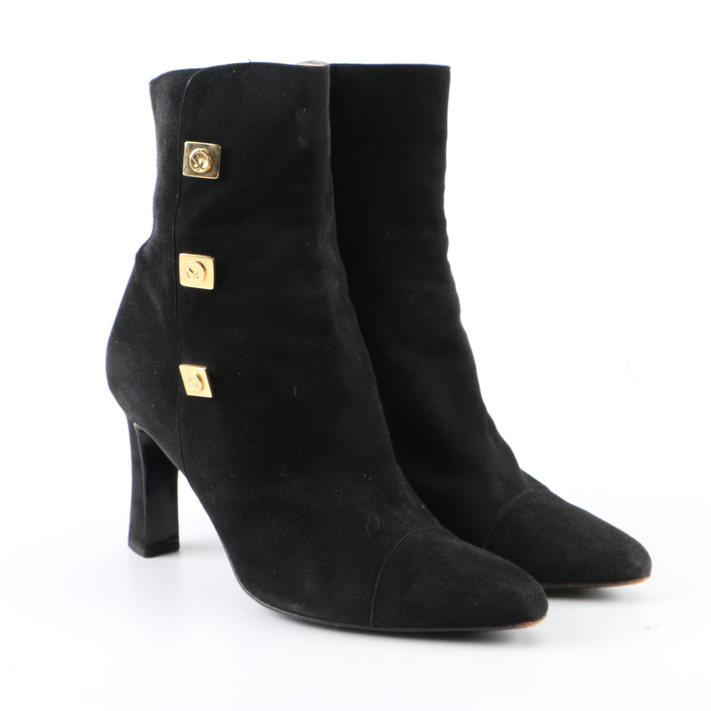Women's St. John Black Suede Ankle Boots