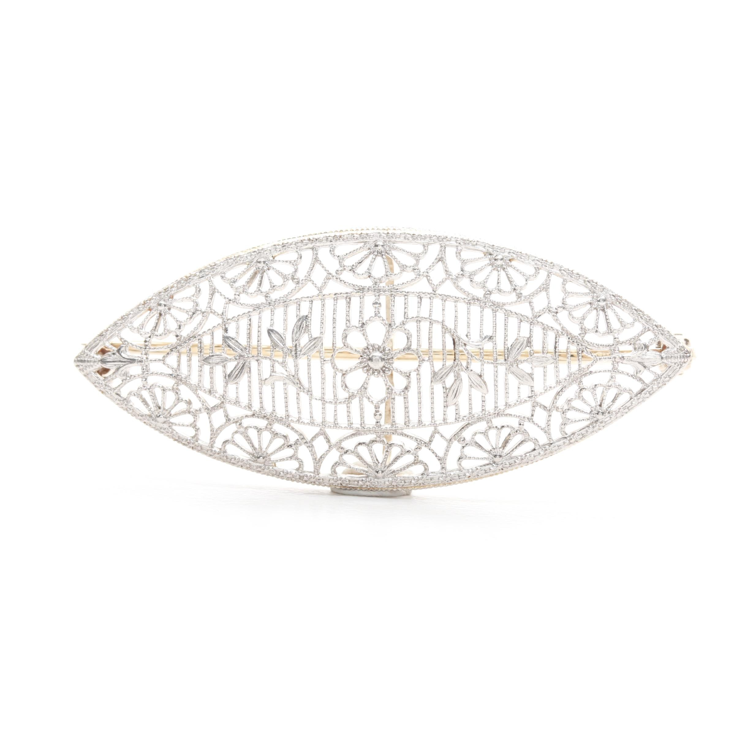 Art Deco 14K Yellow Gold and Platinum Accented Floral Openwork Brooch