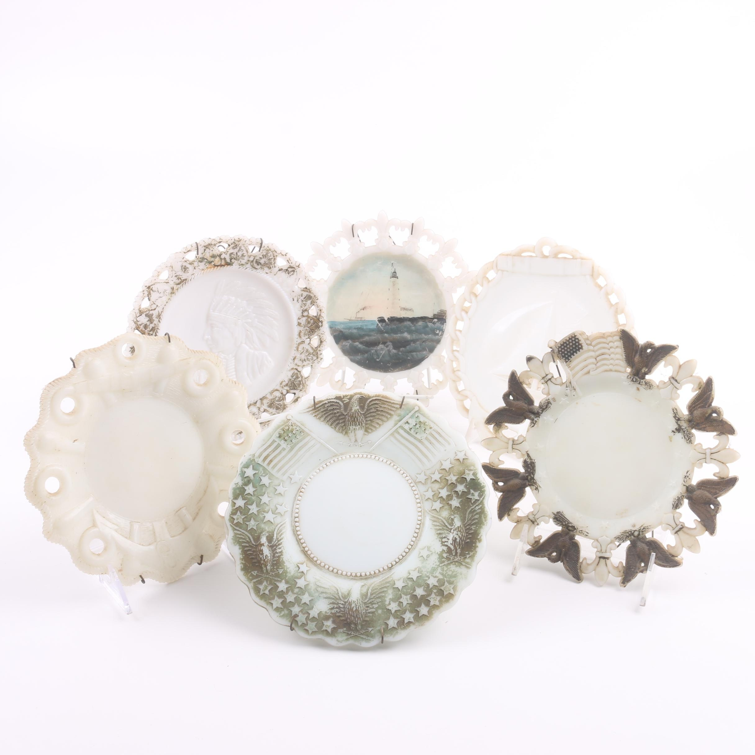 Vintage American Patriotic Milk Glass Plates and Assorted Plates