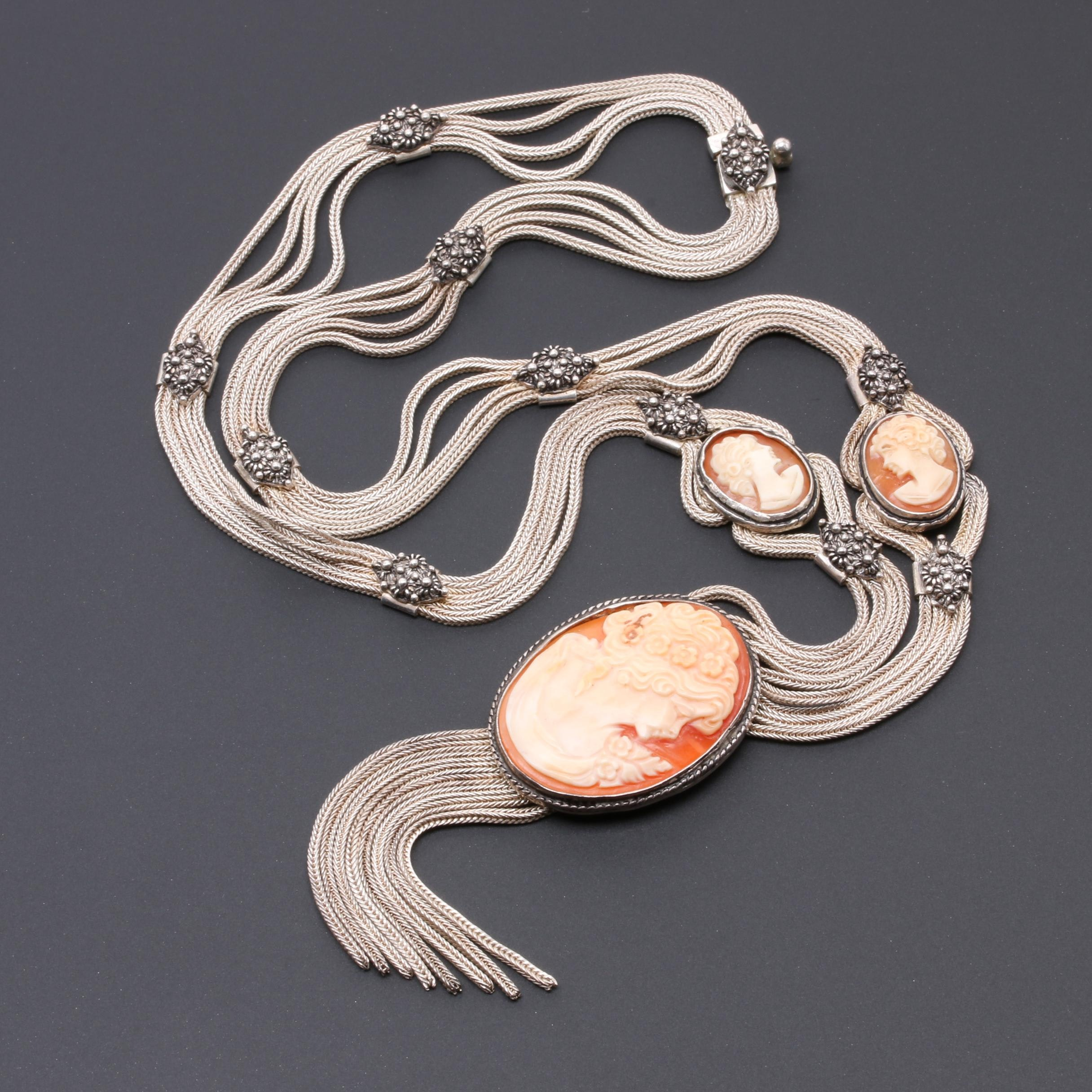 Sterling Silver Helmet Shell Cameo Necklace